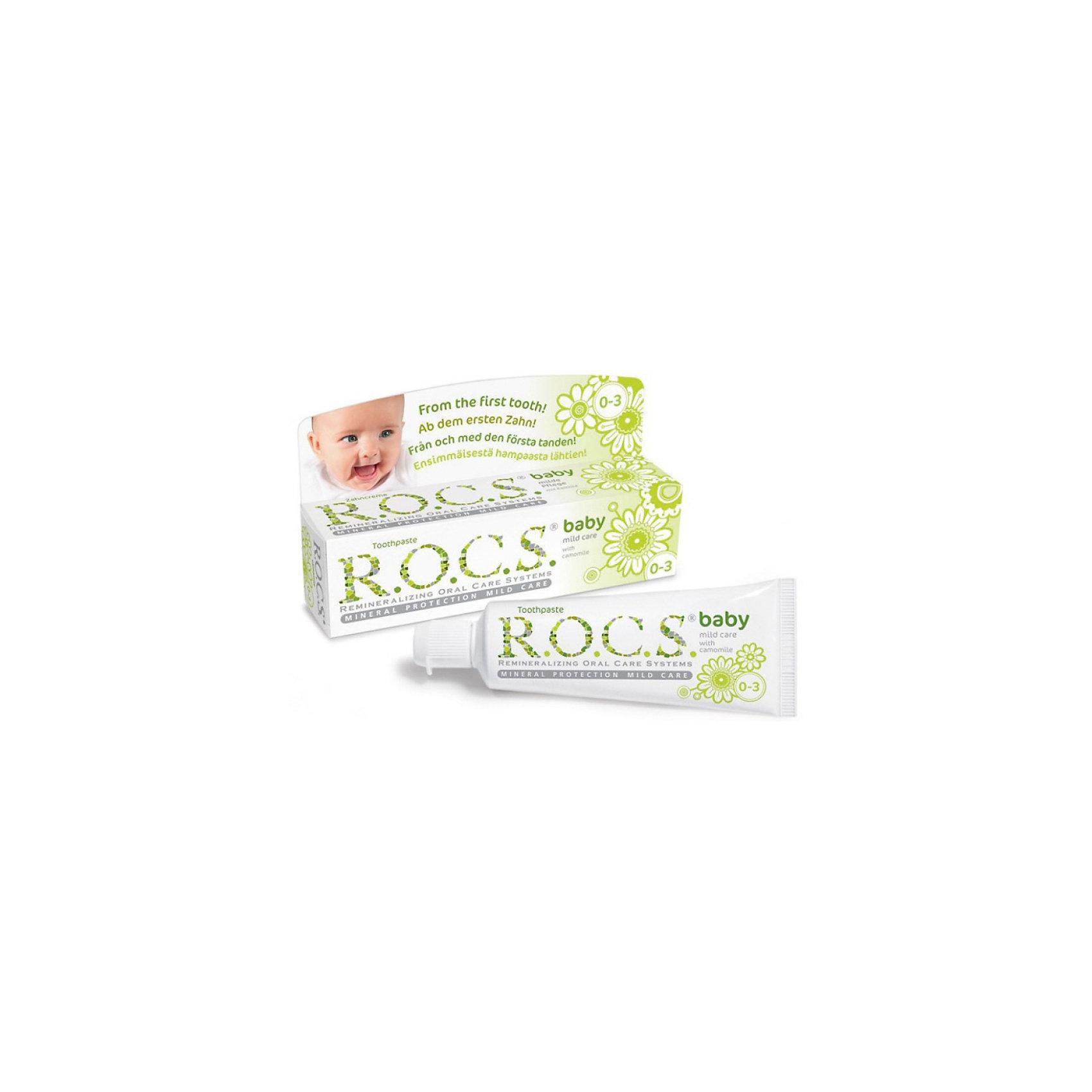 Зубная паста для малышей Душистая ромашка, R.O.C.S., 45 гЗубные пасты<br>Уникальная зубная паста для малышей Душистая ромашка R.O.C.S. (РОКС) предназначена для ухода за зубами малышей, начиная с самого раннего возраста. Природные компоненты – экстракт ромашки лекарственной и альгинат, вырабатываемый из морских водорослей, обеспечивают выраженное противовоспалительное действие. Благодаря высокой концентрации ксилита обеспечивает высокую степень защиты от кариеса, а также обладает свойствами пребиотика, нормализуя состав микрофлоры полости рта, что является особенно важным свойством при дисбактериозах кишечника и молочницах полости рта.<br><br>Дополнительная информация:<br><br>- Укрепляет зубы;<br>- Защищает от кариеса;<br>- Защищает десну от воспаления;<br>- Способствует нормализации микробного баланса в полости рта;<br>- Благодаря противомикробным свойствам экстрактов данный продукт не требует применения сильных консервантов и особых условий хранения;<br>- Гипоаллергенна;<br>- Безопасна при проглатывании;<br>- Не содержит: фтора, парабенов, лаурилсульфата натрия, красителей, антисептиков и отдушки;<br>- Вес: 45 г<br><br>Зубную пасту для малышей Душистая ромашка, R.O.C.S. (РОКС), 45 г можно купить в нашем интернет-магазине.<br><br>Ширина мм: 37<br>Глубина мм: 132<br>Высота мм: 32<br>Вес г: 45<br>Возраст от месяцев: 0<br>Возраст до месяцев: 36<br>Пол: Унисекс<br>Возраст: Детский<br>SKU: 3663450