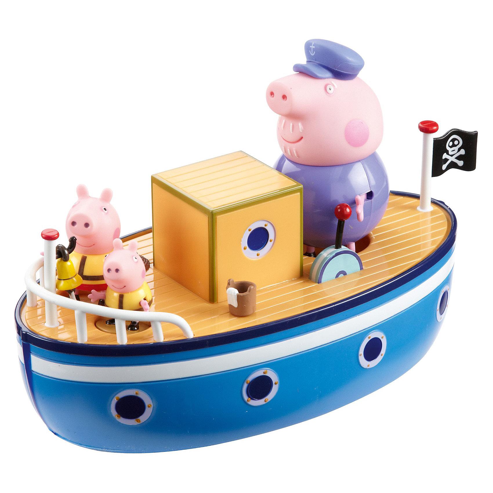 Игровой набор Морское приключение, Свинка ПеппаИгровой набор Морское приключение, Свинка Пеппа порадует всех юных поклонниц популярного сериала о забавной свинке Пеппе Peppa Pig. Игрушка поможет придумать и разыграть сценки из жизни любимых персонажей мультика.<br><br>Свинка Пеппа вместе со своим братом Джорджем и дедушкой отправляются в морское путешествие на большом красивом корабле. На судне можно найти капитанскую рубку, крюк<br>с лебедкой, ведерко с тряпкой, чтобы драить палубу, иллюминаторы, декоративный рычаг и пиратский флаг. Входящими в комплект фигурками можно играть отдельно, свинки<br>могут сходить на берег, а потом вернуться на кораблик вместе с новыми друзьями и родственниками. Игрушка отлично держится на воде, поэтому с ней можно играть и в ванной во время купания, и брать с собой  на пляж или в бассейн.<br><br>Дополнительная информация:<br><br>- В комплекте: лодка, 3 фигурки - Пеппа, Джордж и дедушка, 3 цветных мелка.<br>- Материал: пластик.<br>- Высота фигурок: 5 см.<br>- Размер кораблика: 24 x 13 x 12 см.<br>- Размер упаковки: 34 x 17 x 22 см.<br><br>Игровой набор Морское приключение, Свинка Пеппа можно купить в нашем интернет-магазине.<br><br>Ширина мм: 340<br>Глубина мм: 170<br>Высота мм: 220<br>Вес г: 630<br>Возраст от месяцев: 36<br>Возраст до месяцев: 84<br>Пол: Унисекс<br>Возраст: Детский<br>SKU: 3672297