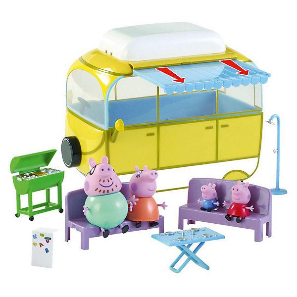 Игровой набор Кемпинг Пеппы, Свинка ПеппаИдеи подарков<br>Игровой набор Кемпинг Пеппы, Свинка Пеппа порадует всех юных поклонников популярного сериала о милой свинке Пеппе Peppa Pig. Игровой набор поможет придумать и<br>разыграть сценки из жизни любимых персонажей мультика.<br><br>Пеппа вместе со своей семьей отправляется на загородный пикник. До места отдыха они поедут на фургончике, который будет служить им домиком. У фургончика выдвигается тент для защиты от солнца, свинки вытаскивают удобные сиденья и раскладной стол, а папа Свин жарит шашлык на мангале. А в жаркий летний день можно принять душ. У фигурок ручки и ножки двигаются. Во время такой сюжетно-ролевой игры у ребенка развиваются навыки общения, кругозор и словарный запас, вырабатываются семейные и<br>общечеловеческие ценности.<br><br>Дополнительная информация:<br><br>- В комплекте: автомобиль-фургон, 4 фигурки (Папа Свин, Мама Свинка, Джордж, Пеппа), аксессуары.<br>- Материал: пластик.<br>- Высота фигурок: до 5 см.<br>- Высота фургона: 23,5 см.<br>- Размер упаковки: 38 x 23 x 20 см.<br>- Вес: 0,309 кг.<br><br> Игровой набор Кемпинг Пеппы, Свинка Пеппа можно купить в нашем интернет-магазине.<br><br>Ширина мм: 377<br>Глубина мм: 210<br>Высота мм: 227<br>Вес г: 1310<br>Возраст от месяцев: 36<br>Возраст до месяцев: 84<br>Пол: Унисекс<br>Возраст: Детский<br>SKU: 3672299