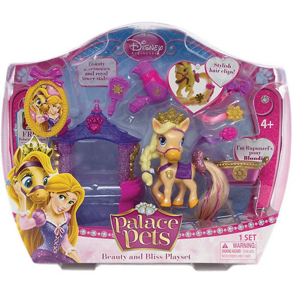 Пони Blondie (питомец Рапунцель), с аксессуарами, Palace PetsПринцессы Дисней<br>Забавный и симпатичный питомец Пони Blondie (питомец Рапунцель), с аксессуарами, Palace Pets (Дворцовые питомцы) – отличная игрушка в наборе с аксессуарами для ухода за питомцем.<br><br>У пони бежевого цвета длинная коса из пластика, корона с блестками, на шее нарисован золотистый кулон на фиолетовой ленточке, на спине - фиолетовая попона. Светлый длинный хвост Блонди можно расчесывать и прикреплять на него клипсы с цветными прядями. У основания хвоста есть блестящий розовый бантик. <br><br>Дополнительная информация:<br>-Высота зверюшки: около 8 см<br>-Материалы: пластик<br>-Комплектация: питомец, 1 башня-домик, 1 щетка, 3 клипсы-пряди, 1 буклет, 1 фен, 1 фоторамка, корзина<br><br>Играйте вместе с домашним питомцем принцессы Рапунцель - пони Блонди! Любая девочка будет очарована таким подарком!<br><br>Пони Blondie (Блонди) (питомец Рапунцель), с аксессуарами, Palace Pets (Дворцовые питомцы) можно купить в нашем магазине.<br><br>Ширина мм: 266<br>Глубина мм: 89<br>Высота мм: 215<br>Вес г: 243<br>Возраст от месяцев: 36<br>Возраст до месяцев: 144<br>Пол: Женский<br>Возраст: Детский<br>SKU: 3676459