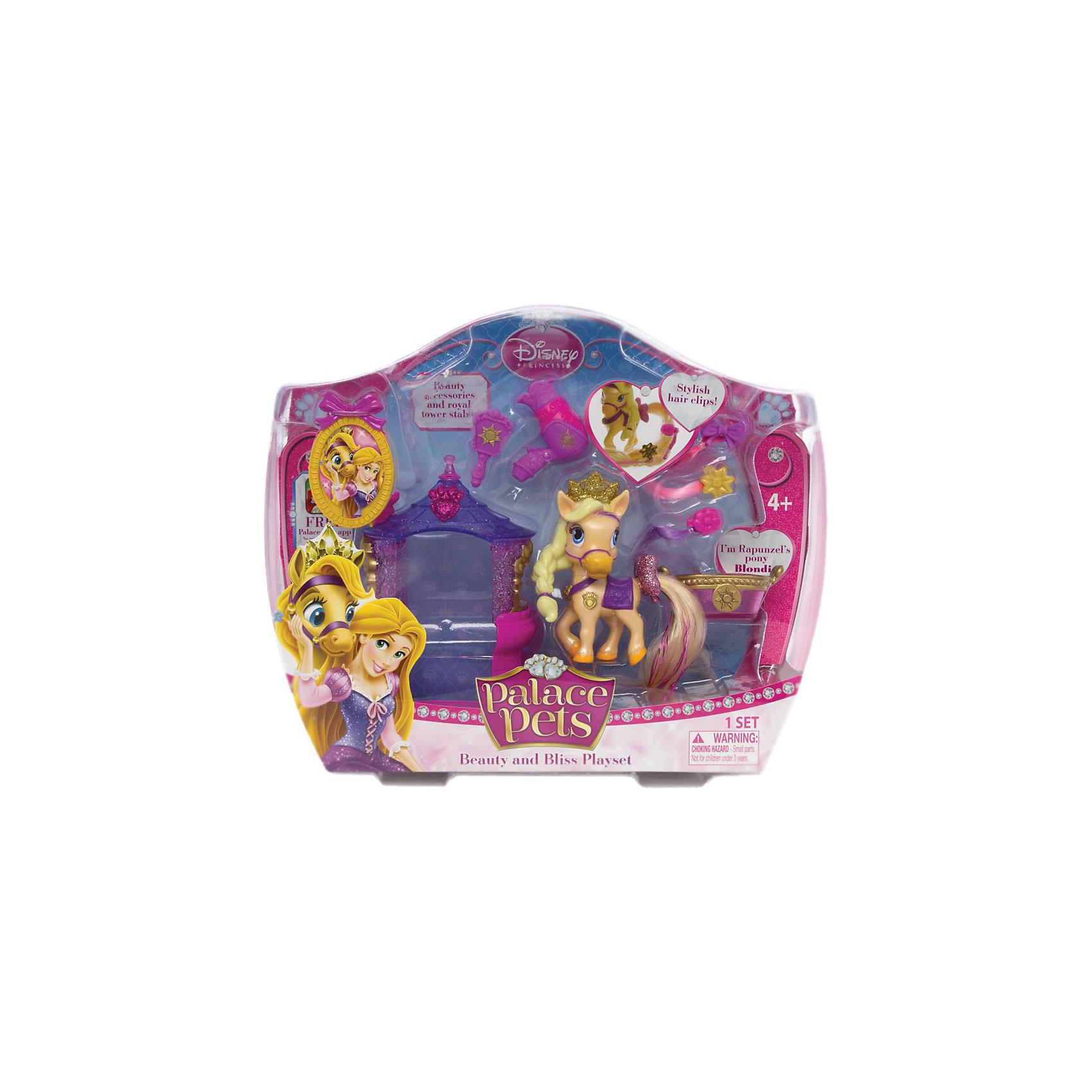 Пони Blondie (питомец Рапунцель), с аксессуарами, Palace PetsИгрушки<br>Забавный и симпатичный питомец Пони Blondie (питомец Рапунцель), с аксессуарами, Palace Pets (Дворцовые питомцы) – отличная игрушка в наборе с аксессуарами для ухода за питомцем.<br><br>У пони бежевого цвета длинная коса из пластика, корона с блестками, на шее нарисован золотистый кулон на фиолетовой ленточке, на спине - фиолетовая попона. Светлый длинный хвост Блонди можно расчесывать и прикреплять на него клипсы с цветными прядями. У основания хвоста есть блестящий розовый бантик. <br><br>Дополнительная информация:<br>-Высота зверюшки: около 8 см<br>-Материалы: пластик<br>-Комплектация: питомец, 1 башня-домик, 1 щетка, 3 клипсы-пряди, 1 буклет, 1 фен, 1 фоторамка, корзина<br><br>Играйте вместе с домашним питомцем принцессы Рапунцель - пони Блонди! Любая девочка будет очарована таким подарком!<br><br>Пони Blondie (Блонди) (питомец Рапунцель), с аксессуарами, Palace Pets (Дворцовые питомцы) можно купить в нашем магазине.<br><br>Ширина мм: 266<br>Глубина мм: 89<br>Высота мм: 215<br>Вес г: 243<br>Возраст от месяцев: 36<br>Возраст до месяцев: 144<br>Пол: Женский<br>Возраст: Детский<br>SKU: 3676459