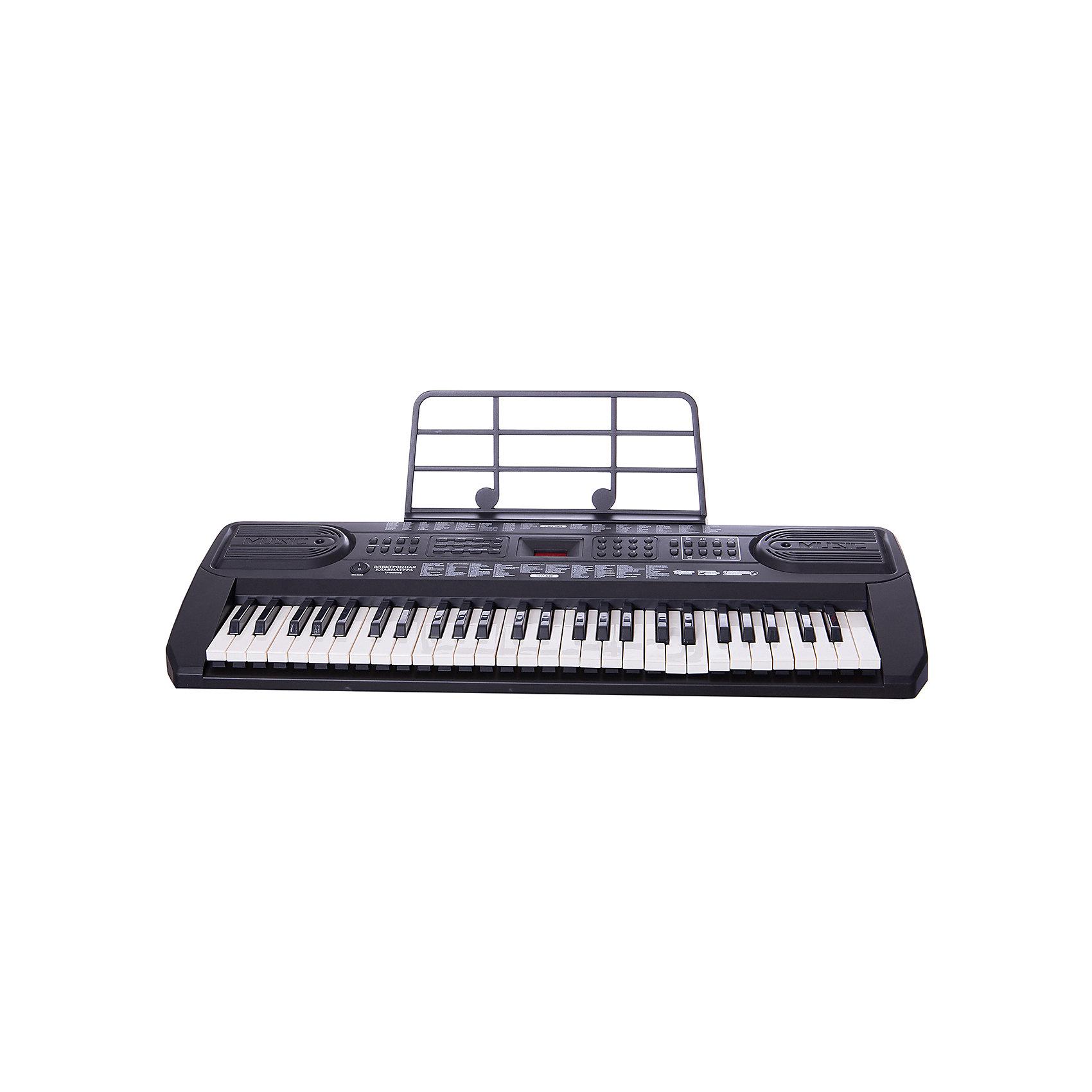 Синтезатор, 54 клавишиМузыкальные инструменты и игрушки<br>Синтезатор, 54 клавиши – функциональное детское пианино, имеющее 54 электронные клавиши! С помощью этого синтезатора малыш сможет научиться играть на синтезаторе, записать свои мелодии ли прослушать встроенные в память композиции. <br><br>Особенности:<br>-100 тембров/100 ритмов<br>-вибрато, сустейн<br>-4 вида ударных, 4 голоса животных<br>-автоматические басы<br>-10 демо мелодий<br>-взятие аккорда одним или несколькими пальцами<br>-31 уровня темпа<br>-16 уровней громкости<br>-программирование ритма<br>-2 стерео динамика<br>-питание DC9V / AC220V<br>-54 клавиши с подсветкой<br>-микрофона нет<br>-2 обзорных режима<br><br>Комплектация: синтезатор, адаптер 220V, инструкция<br><br>Дополнительная информация:<br>-Сетевой адаптер 220 вольт (входит в комплект) или батарея типа Крона 9 V (в комплект не входит)<br>-Материалы: пластик<br>-Размеры: 78х30х7 см<br>-Микрофон в комплект не входит<br><br>С помощью этого синтезатора ребенок сможет развить свои музыкальные способности и порадовать друзей и близких великолепным концертом. Порадуйте его таким замечательным подарком!<br><br>Синтезатор, 54 клавиши можно купить в нашем магазине.<br><br>Ширина мм: 885<br>Глубина мм: 130<br>Высота мм: 340<br>Вес г: 5250<br>Возраст от месяцев: 36<br>Возраст до месяцев: 1188<br>Пол: Унисекс<br>Возраст: Детский<br>SKU: 3676466