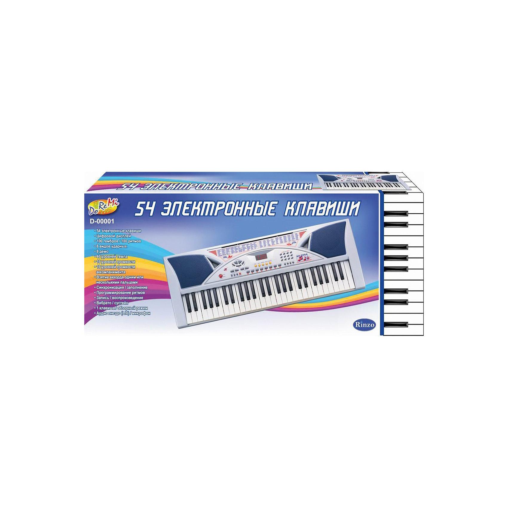 Синтезатор, 54 клавиши с микрофономСинтезатор, 54 клавиши с микрофоном – отличный музыкальный инструмент для девочек и мальчиков, которые пожелали всерьез заниматься музыкой. Может воспроизводить различные звуки, тембры, демо-песни. Входящий в комплект микрофон позволить таланту вашего ребенка раскрыться полностью. Хорошее приобретение, как для начинающих музыкантов, так и для уже уверенных игроков на этом инструменте. <br><br>Особенности:<br>-54 электронные клавиши<br>-Цифровой дисплей<br>-100 тембров/100 ритмов<br>-8 видов ударных<br>-8 демо мелодий<br>-46 уровней темпа<br>-16 видов громкости<br>-16 видов громкости аккомпанемента<br>-Взятие аккорда одним или несколькими пальцами<br>-Синхронизация/заполнение<br>-Программирование ритмов<br>-Запись/воспроизведение<br>-Вибрато/сустейн/эхо<br>-Клавиша/обзорный режим<br>-Аудио гнездо/микрофон<br><br>Комплектация: пианино, микрофон, сетевой адаптер 220V<br><br>Дополнительная информация:<br>-Материал: высококачественная пластмасса<br>-Батарейки: 6xАА (не входят в комплект)<br>-Работает от встроенного адаптера 220V или 6 батареек типа D (не в комплекте)<br>-Длина инструмента: 96 см<br><br>Яркий синтезатор привлечет внимание малыша и доставит ему много удовольствия от часов, посвященных игре с ним.<br><br>Синтезатор, 54 клавиши с микрофоном можно купить в нашем магазине.<br><br>Ширина мм: 860<br>Глубина мм: 120<br>Высота мм: 360<br>Вес г: 4830<br>Возраст от месяцев: 36<br>Возраст до месяцев: 1188<br>Пол: Унисекс<br>Возраст: Детский<br>SKU: 3676467