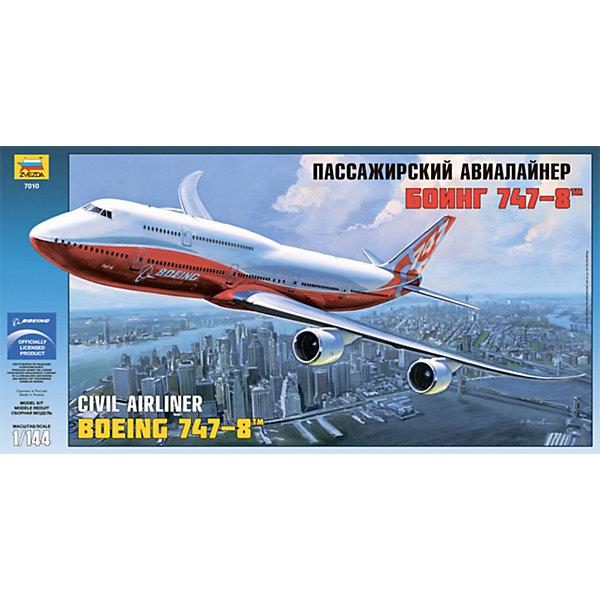 Сборная модель Боинг 747-8, ЗвездаСамолёты и вертолёты<br>Сборная модель Боинг 747-8, Звезда – это сборная модель гражданского самолета Боинг 747-8 (Boeing), который считается самым длинным пассажирским самолетом.<br>Точная детализированная копия этого самолета не сможет оставить равнодушным ни одного мальчишку! В наборе 154 детали, из которых ребенок по инструкции сможет собрать модель Боинга 747-8. В наборе есть большая декаль – картинка, которую можно перенести на готовую модель, чтобы сборная модель самолета стала еще больше похожа на настоящий Боинг. <br>Особенности:<br>-Количество деталей: 154 шт.<br>-Качество изготовления наивысшее, модель изготавливалась по лицензии и материалам компании Боинг<br>-Идеально подходит для подарка<br>-Прививает практические навыки работы со схемами и чертежами<br>-Развивает интеллектуальные и инструментальные способности, воображение и конструктивное мышление<br><br>Дополнительная информация:<br>-Размер готовой модели: 53 см<br>-Материал: высококачественная пластмасса.<br>-Клей и краски продаются отдельно от набора<br>-Комплектация: 154 элемента для сборки, инструкция по сборке, декаль<br><br>Игрушка Сборная модель «Боинг 747-8» серии Звезда - это интересный и развивающий досуг для детей и их родителей!<br><br>Сборную модель Боинг 747-8, Звезда можно купить в нашем магазине.<br>Ширина мм: 615; Глубина мм: 310; Высота мм: 74; Вес г: 640; Возраст от месяцев: 36; Возраст до месяцев: 168; Пол: Мужской; Возраст: Детский; SKU: 3676468;