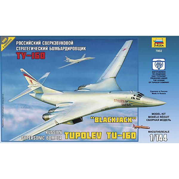 Сборная модель самолета Ту-160, ЗвездаВоенный транспорт<br>Сборная модель самолета Ту-160, Звезда – это модель боевого сверхзвукового бомбардировщика-ракетоносца, разработанного в КБ Туполева в 1980 году. <br><br>Отличительные особенности – изменяемая геометрия крыла, а также тот факт, что он является самым тяжелым боевым самолетом в мире. Благодаря крылу изменяемой стреловидности Ту-160 способен совершать полет как на малых высотах, в режиме следованию рельефу местности, так и на больших высотах (в том числе и со сверхзвуковой скоростью). Среди летчиков получил название Белый лебедь. Теперь любой желающий сможет построить из пластмассы масштабную копию этого опасного самолета. Достаточно лишь следовать инструкции и внимательно склеивать детали.<br><br>Особенности:<br>-Количество деталей: 153 шт.<br>-Качество изготовления наивысшее<br>-Идеально подходит для подарка<br>-Прививает практические навыки работы со схемами и чертежами<br>-Развивает интеллектуальные и инструментальные способности, воображение и конструктивное мышление<br><br>Дополнительная информация:<br>-Длина собранной модели: 37,5см<br>-Клей и краски в комплект набора не входят<br>-Комплектация: 153 шт. деталей, инструкция, декаль<br><br>Игрушка Сборная модель «Ту-160» серии Звезда - это интересный и развивающий досуг для детей и их родителей!<br><br>Сборную модель самолета Ту-160, Звезда можно купить в нашем магазине.<br><br>Ширина мм: 400<br>Глубина мм: 70<br>Высота мм: 242<br>Вес г: 390<br>Возраст от месяцев: 36<br>Возраст до месяцев: 168<br>Пол: Мужской<br>Возраст: Детский<br>SKU: 3676470