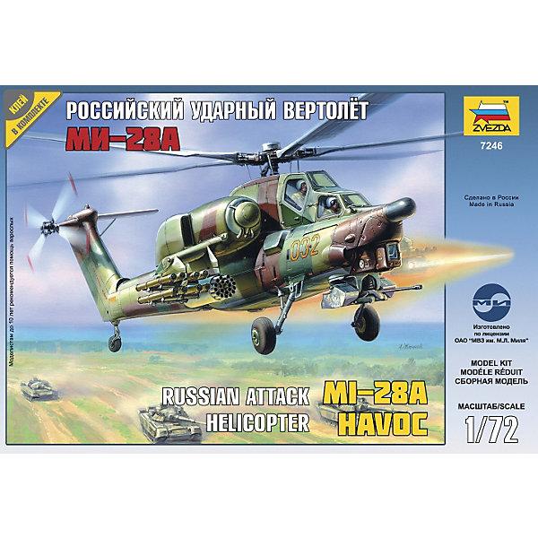 Сборная модель вертолета МИ-28А, ЗвездаВоенный транспорт<br>Сборная модель вертолета МИ-28А, Звезда – это масштабная модель вертолета Ми-28А, который несет мощный комплекс вооружения, включающий противотанковые управляемые ракеты, неуправляемые ракеты и автоматическую 30-мм пушку. Для успешного выполнения задачи вертолет оснащен совершенным бортовым радиоэлектронным оборудованием. «Ми-28» является аналогом американского вертолета «Апача».<br><br>Сборка подобных моделей развивает конструктивное мышление, интеллектуальные способности, воображение. Детали модели соединяются с помощью специального клея, который приобретается отдельно. Подробная инструкция обеспечит точность и правильность сборки. Ответственная миссия предстоит будущему пилоту собрать свой первый вертолет своими руками!<br><br>Особенности:<br>-Количество деталей: 103<br>-Качество изготовления наивысшее<br>-Идеально подходит для подарка<br>-Прививает практические навыки работы со схемами и чертежами<br>-Развивает интеллектуальные способности, воображение и конструктивное мышление, мелкую моторику, усидчивость, внимание<br><br>Дополнительная информация:<br>-Материал: пластик <br>-Размер готовой модели: 23 см<br>-Клей и краски в комплект набора не входят<br>-Комплектация: 103 шт. деталей, инструкция, декаль<br><br>Высокотехничные боевые самолеты и летные машины высшего пилотажа – это украшение любой современной армии! В том числе – игрушечной. Эта модель вертолета несомненно украсит собой серьезную коллекцию истинного любителя! <br><br>Сборную модель вертолета МИ-28А, Звезда можно купить в нашем магазине.<br><br>Ширина мм: 300<br>Глубина мм: 50<br>Высота мм: 205<br>Вес г: 240<br>Возраст от месяцев: 36<br>Возраст до месяцев: 168<br>Пол: Мужской<br>Возраст: Детский<br>SKU: 3676479