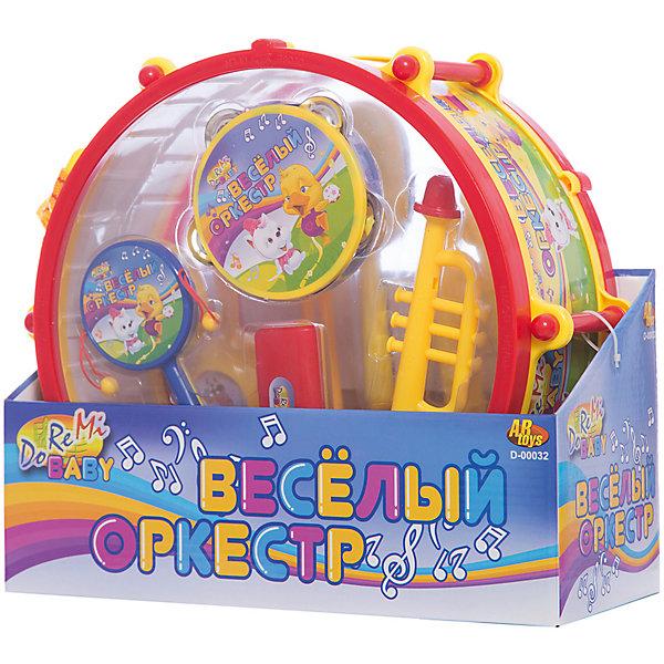 Набор музыкальных инструментов Веселый оркестр в барабанеДругие музыкальные инструменты<br>Набор музыкальных детских инструментов Веселый оркестр в барабане- позволит весело играть одному и с друзьями, создавая целый букет разнообразных звуков! Набор включает в себя барабан диаметром 27 см, трубу детскую, бубен детский, маракасы, а также и другие музыкальные детские инструменты, которые позволят ребенку приобрести начальные знания о музыкальных инструментах, научиться ими пользоваться, извлекая звуки, развивая свое слуховое восприятие и мелкую моторику. Все инструменты яркие, красочные, издают приятные, не резкие звуки.<br><br>Дополнительная информация:<br><br>-  В набор входят 7 инструментов: барабан (диаметр 27 см), труба, бубен, маракасы, а также и другие музыкальные инструменты;<br>- Игрушка развивает: моторику рук и музыкальный слух;<br>- Естественное звучание;<br>- Можно играть одному и в компании;<br>- Материал: пластик;<br>- Диаметр барабана: 27 см;<br>- Размер: 31 х 27,5 х 13 см;<br>- Вес: 889 г<br><br>Набор музыкальных инструментов Веселый оркестр в барабане  можно купить в нашем интернет-магазине.<br>Ширина мм: 310; Глубина мм: 275; Высота мм: 130; Вес г: 889; Возраст от месяцев: 36; Возраст до месяцев: 72; Пол: Унисекс; Возраст: Детский; SKU: 3676494;