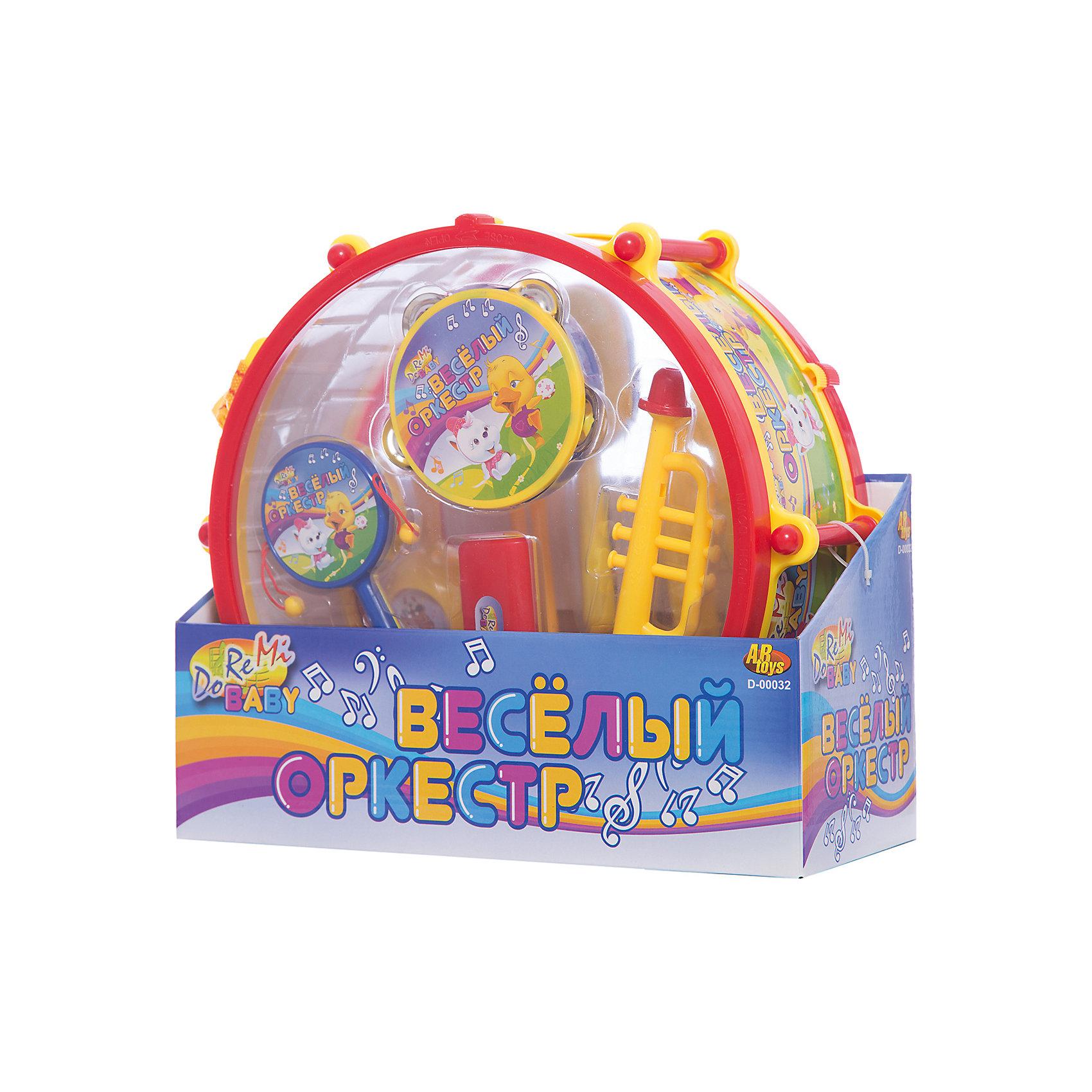Набор музыкальных инструментов Веселый оркестр в барабанеМузыкальные инструменты и игрушки<br>Набор музыкальных детских инструментов Веселый оркестр в барабане- позволит весело играть одному и с друзьями, создавая целый букет разнообразных звуков! Набор включает в себя барабан диаметром 27 см, трубу детскую, бубен детский, маракасы, а также и другие музыкальные детские инструменты, которые позволят ребенку приобрести начальные знания о музыкальных инструментах, научиться ими пользоваться, извлекая звуки, развивая свое слуховое восприятие и мелкую моторику. Все инструменты яркие, красочные, издают приятные, не резкие звуки.<br><br>Дополнительная информация:<br><br>-  В набор входят 7 инструментов: барабан (диаметр 27 см), труба, бубен, маракасы, а также и другие музыкальные инструменты;<br>- Игрушка развивает: моторику рук и музыкальный слух;<br>- Естественное звучание;<br>- Можно играть одному и в компании;<br>- Материал: пластик;<br>- Диаметр барабана: 27 см;<br>- Размер: 31 х 27,5 х 13 см;<br>- Вес: 889 г<br><br>Набор музыкальных инструментов Веселый оркестр в барабане  можно купить в нашем интернет-магазине.<br><br>Ширина мм: 310<br>Глубина мм: 275<br>Высота мм: 130<br>Вес г: 889<br>Возраст от месяцев: 36<br>Возраст до месяцев: 72<br>Пол: Унисекс<br>Возраст: Детский<br>SKU: 3676494