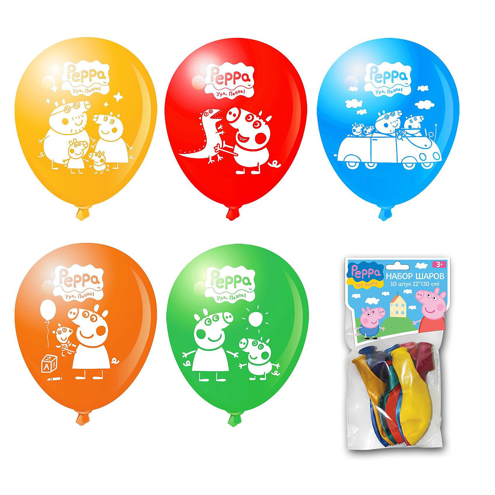 Набор воздушных шариков, 10шт, Свинка ПеппаСвинка Пеппа<br>Набор воздушных шариков, 10шт, Свинка Пеппа (Peppa Pig) – красивые и яркие шарики с героями любимого мультфильма.<br><br>Воздушные шарики станут прекрасным украшением детского праздника. Ими можно и играть и декорировать интерьер, сделав приятный сюрприз для ребенка. Кроме того шарики могут стать прекрасным дополнением к подарку, ведь все дети так любят воздушные шары!<br><br>Дополнительная информация:<br>- диаметр: 30 см<br>- цвета в ассортименте<br><br>ВНИМАНИЕ! Данный артикул имеется в наличии в разных цветовых исполнениях. Заранее выбрать определенный цвет нельзя.  <br><br>Набор воздушных шариков, 10шт, Свинка Пеппа (Peppa Pig) порадует маленьких любителей воздушных шаров и свинки Пеппы.<br><br>Набор воздушных шариков, 10шт, Свинка Пеппа (Peppa Pig) можно купить в нашем магазине.<br><br>Ширина мм: 230<br>Глубина мм: 130<br>Высота мм: 50<br>Вес г: 50<br>Возраст от месяцев: 36<br>Возраст до месяцев: 108<br>Пол: Унисекс<br>Возраст: Детский<br>SKU: 3677871