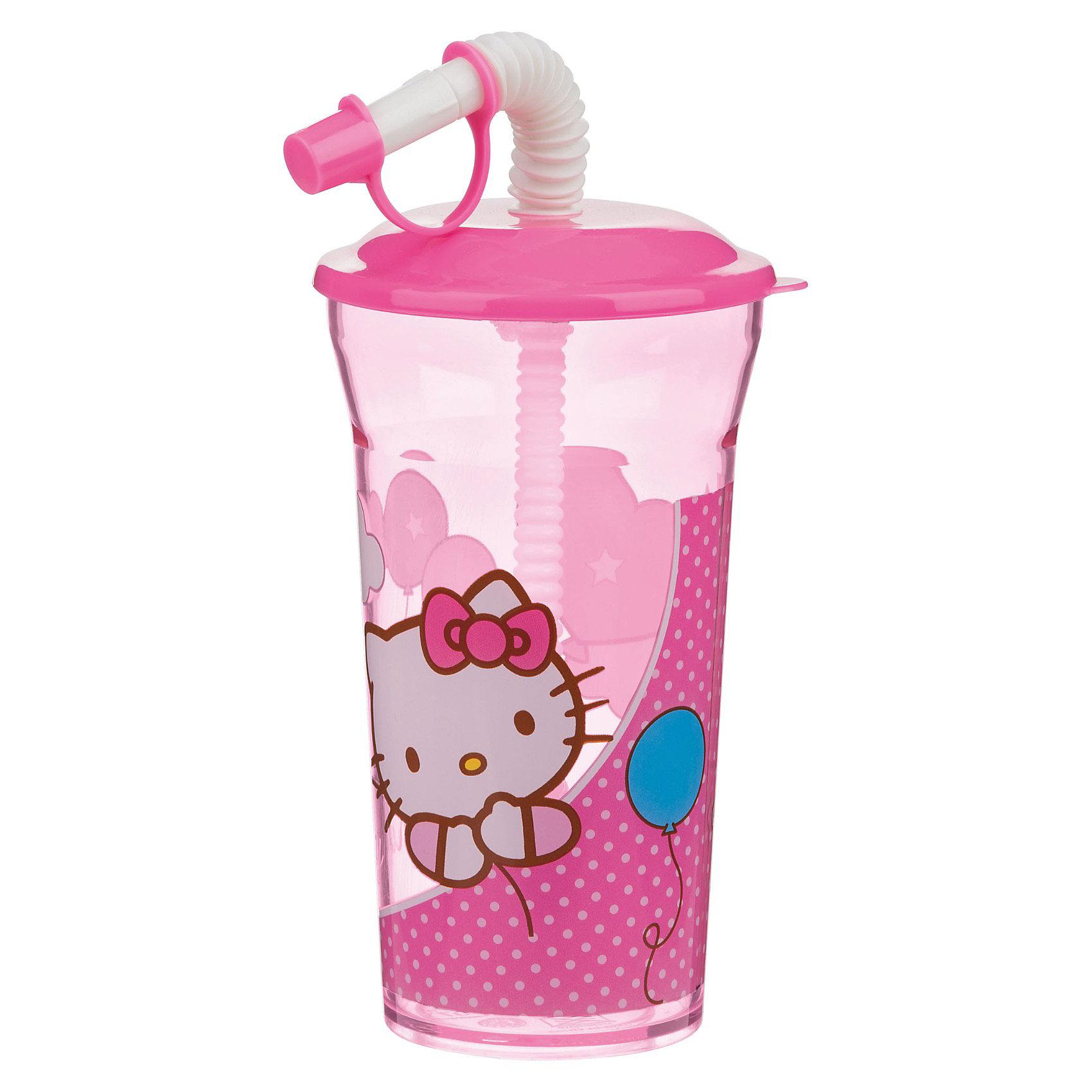Стакан с крышкой и соломинкой (350 мл), Hello Kitty