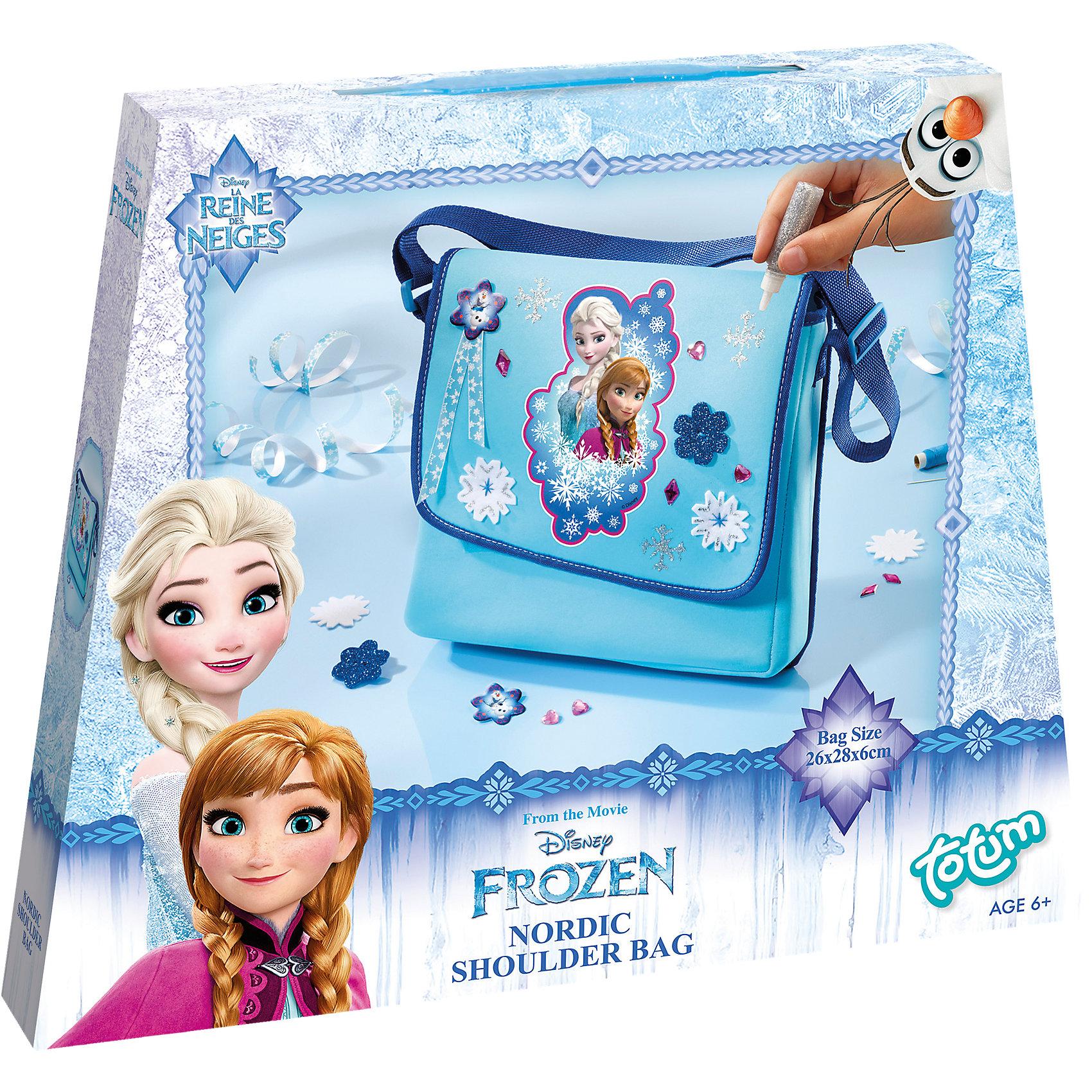 Набор для творчества FROZEN сумочкаНабор для изготовления сумочки Холодное сердце. В набор входят: сумка на длинном ремешке, различные стразы, объемные пуговицы Холодное сердце, материал с блестками в форме цветка, фетровые снежинки, голубая нить, иголка, серебристый клей с блестками, лента Холодное сердце, инструкция. Что ты сможешь сделать: 1 сумку через плечо с неповторимым оформлением. Рекомендуемый возраст: 6+<br><br>Ширина мм: 245<br>Глубина мм: 294<br>Высота мм: 43<br>Вес г: 219<br>Возраст от месяцев: 60<br>Возраст до месяцев: 120<br>Пол: Женский<br>Возраст: Детский<br>SKU: 3683248