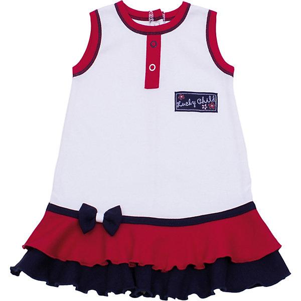 Платье для девочки Lucky ChildПлатья<br>Платье для девочки Lucky Child<br>Ничто так не красит девочку как красивое платье! Особенно платье от Lucky Child, которое умело подчеркивает силуэт. Пышная юбочка с оборочками и бантиком настроит на положительный лад даже самую капризную принцессу.<br>Состав : 100% хлопок<br>Ширина мм: 236; Глубина мм: 16; Высота мм: 184; Вес г: 177; Цвет: белый; Возраст от месяцев: 18; Возраст до месяцев: 2; Пол: Женский; Возраст: Детский; Размер: 86/92,98/104,80/86,68/74,74/80,92/98; SKU: 3685868;