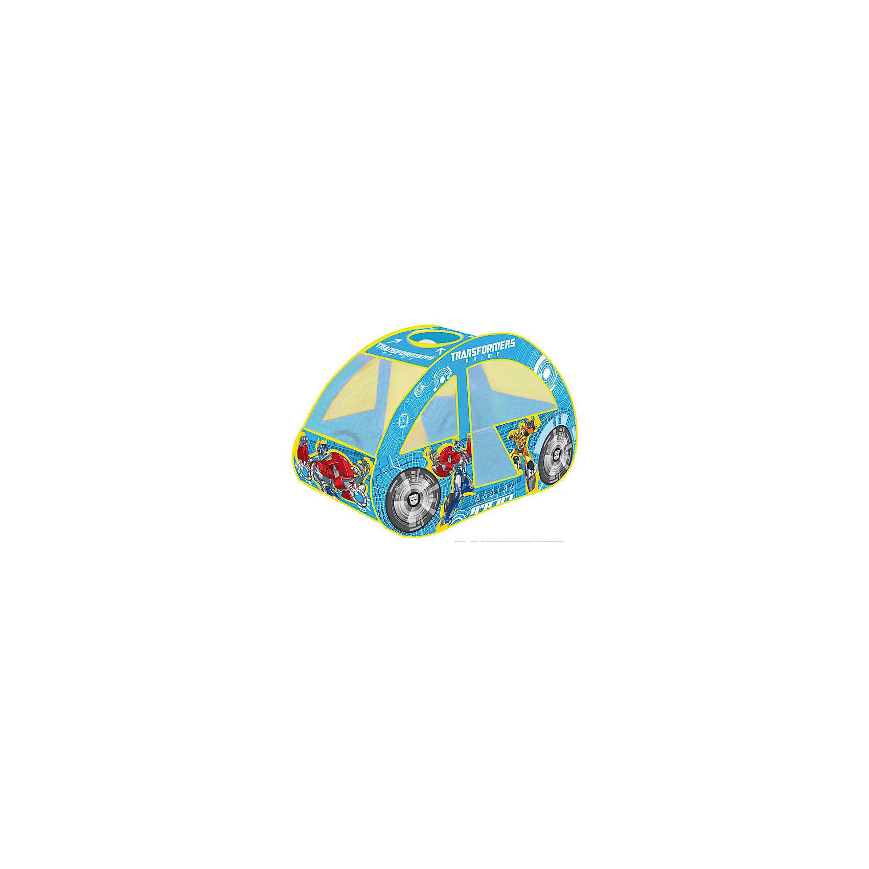 Детская игровая палатка-машинка Трансформеры, Играем ВместеПалатка игровая Transformers (Трансформеры) Играем вместе - отличный подарок для  мальчишек! Детская игровая палатка Transformers (Трансформеры) подарит Вашему ребенку множество увлекательных часов игры. Послужит отличной игрушкой как дома, так и на свежем воздухе в теплое время: варианты игры могут быть ограничены лишь фантазией ребенка. Мобильная и качественная, палатка легко складывается для хранения и транспортировки, самораскладывающийся каркас-спираль позволяет без труда собирать и разбирать ее. Окна выполнены из сетчатого материала, дверь палатки на липучке. Выполненная в виде красочной машинки из прочного материала, натянутого на металлический каркас, она к тому же очень легкая и компактная. В ней можно отдыхать, прятаться, защищаться от солнца и дождика!<br><br>Дополнительная информация:<br><br>- Понравится любителям мультфильма Transformers (Трансформеры);<br>- Создана в виде машинки, которая так нравится мальчишкам;<br>- Подходит для игры в помещении и на улице в летнее время;<br>- Палатку легко собрать и разобрать;<br>- Есть окошки с сеткой для притока воздуха;<br>- Влагостойкий материал;<br>- Упакована в сумку с ручками для удобства переноски;<br>- Цвет: синий;<br>- Размер: 126 х 70 х 80 см;<br>- Вес: 650 г<br><br>Детскую игровую палатку-машинку Трансформеры, Играем Вместе можно купить в нашем интернет-магазине.<br><br>Ширина мм: 410<br>Глубина мм: 30<br>Высота мм: 410<br>Вес г: 650<br>Возраст от месяцев: 12<br>Возраст до месяцев: 48<br>Пол: Мужской<br>Возраст: Детский<br>SKU: 3687179