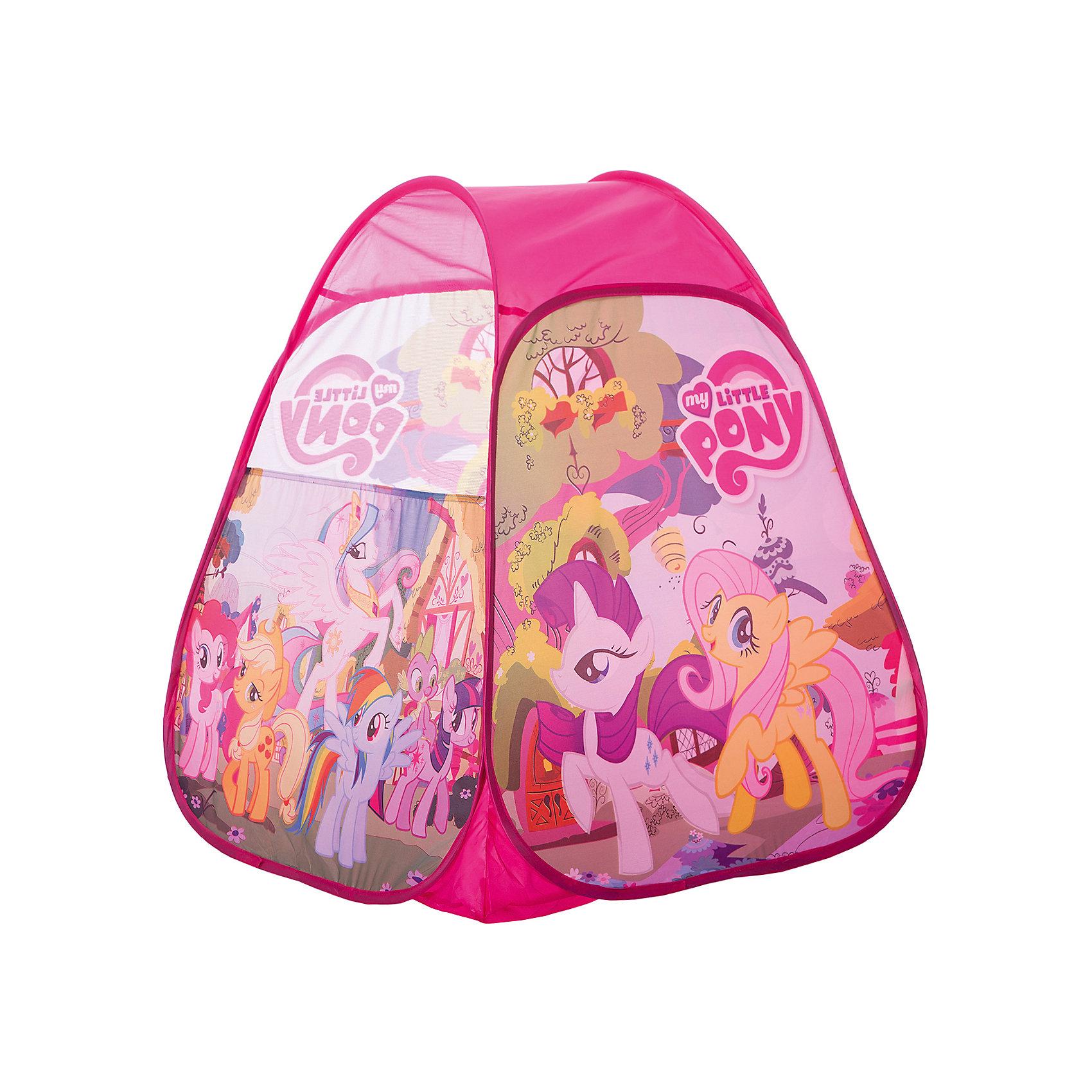 Детская игровая палатка My little pony, Играем ВместеПалатка игровая My little pony (Моя маленькая пони) Играем вместе - отличный подарок для  девочек! Детская игровая палатка My little pony (Моя маленькая пони) подарит Вашему ребенку множество увлекательных часов игры. Послужит отличной игрушкой как дома, так и на свежем воздухе в теплое время: варианты игры могут быть ограничены лишь фантазией ребенка. Мобильная и качественная, палатка легко складывается для хранения и транспортировки, самораскладывающийся каркас-спираль позволяет без труда собирать и разбирать ее. Окна выполнены из сетчатого материала, дверь палатки на липучке. На передней стенке расположены сцены из всеми любимого мультфильма My little pony (Моя маленькая пони)!<br><br>Дополнительная информация:<br><br>- Создана по мотивам мультфильма My little pony (Моя маленькая пони);<br>- Подходит для игры в помещении и на улице в летнее время;<br>- Палатку легко собрать и разобрать;<br>- Есть окошки с сеткой для притока воздуха;<br>- Влагостойкий материал;<br>- Упакована в сумку с ручками для удобства переноски;<br>- Цвет: розовый;<br>- Размер: 81 х 91 х 81 см;<br>- Вес: 750 г<br><br>Детскую игровую палатку My little pony (Моя маленькая пони), Играем Вместе можно купить в нашем интернет-магазине.<br><br>Ширина мм: 370<br>Глубина мм: 30<br>Высота мм: 370<br>Вес г: 750<br>Возраст от месяцев: 12<br>Возраст до месяцев: 48<br>Пол: Женский<br>Возраст: Детский<br>SKU: 3687181