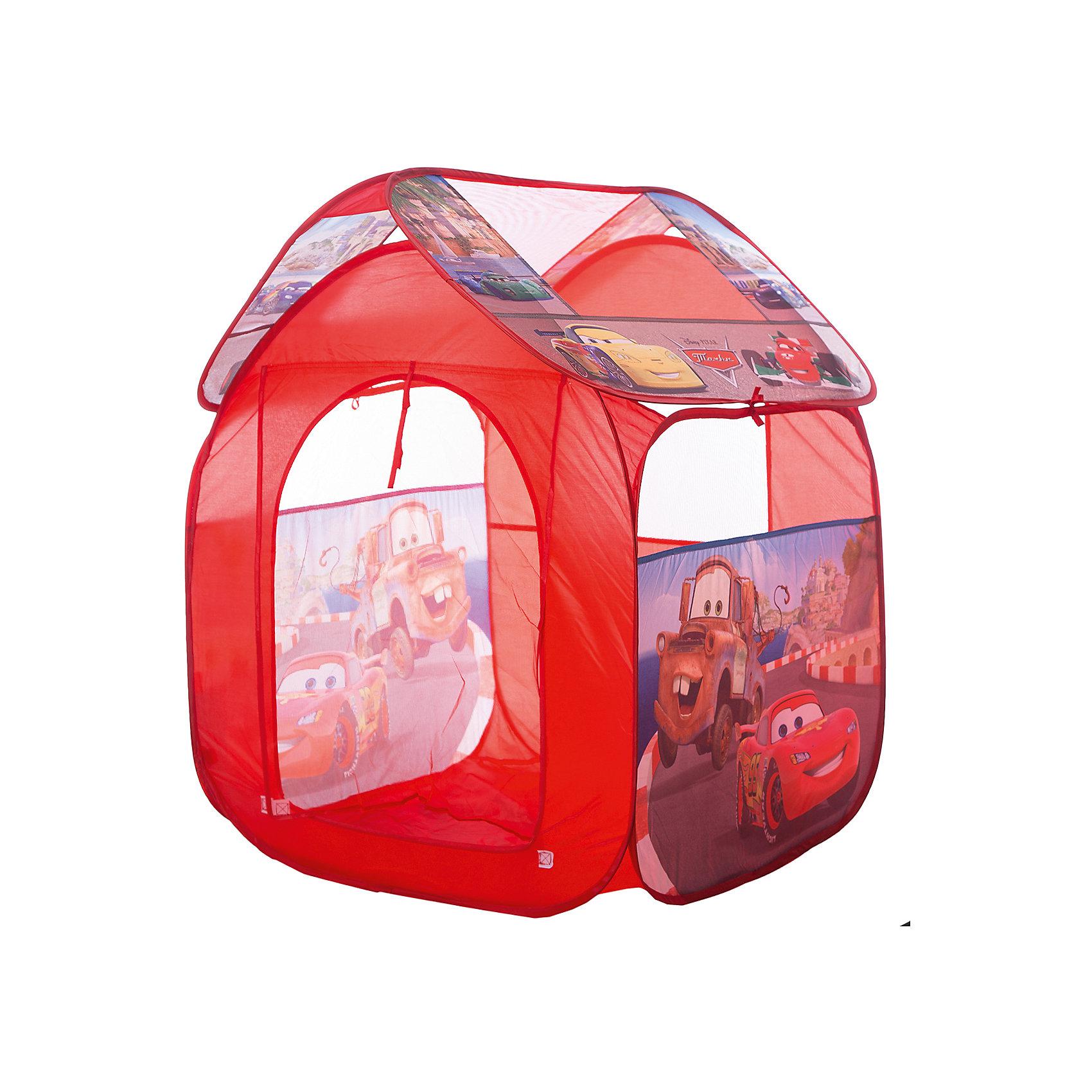 Детская игровая палатка Тачки 2, Играем ВместеИгровые центры<br>Палатка игровая Тачки 2 Играем вместе - отличный подарок для  мальчишек! Детская игровая палатка Тачки 2 подарит Вашему ребенку множество увлекательных часов игры. Послужит отличной игрушкой как дома, так и на свежем воздухе в теплое время: варианты игры могут быть ограничены лишь фантазией ребенка. Мобильная и качественная, палатка легко складывается для хранения и транспортировки, самораскладывающийся каркас-спираль позволяет без труда собирать и разбирать ее. Окна выполнены из сетчатого материала, дверь палатки на липучке. Выполненная из прочного, влагостойкого материала, она к тому же очень легкая и компактная. В ней можно отдыхать, прятаться, защищаться от солнца и дождика!<br><br>Дополнительная информация:<br><br>- Понравится любителям мультфильма Тачки 2 (Cars);<br>- Подходит для игры в помещении и на улице в летнее время;<br>- Палатку легко собрать и разобрать;<br>- Есть окошки с сеткой для притока воздуха;<br>- Влагостойкий материал;<br>- Упакована в сумку с ручками для удобства переноски;<br>- Размер: 83 х 80 х 105 см;<br>- Вес: 750 г<br><br>Детскую игровую палатку Тачки 2, Играем Вместе можно купить в нашем интернет-магазине.<br><br>Ширина мм: 370<br>Глубина мм: 20<br>Высота мм: 370<br>Вес г: 750<br>Возраст от месяцев: 12<br>Возраст до месяцев: 48<br>Пол: Мужской<br>Возраст: Детский<br>SKU: 3687182
