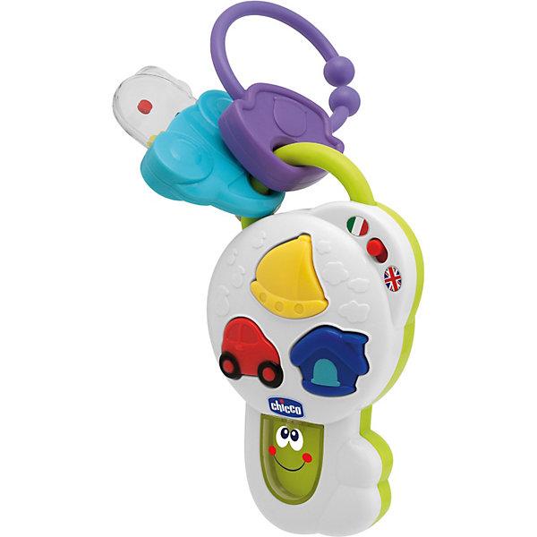 Говорящий ключик, ChiccoИнтерактивные игрушки для малышей<br>Говорящий ключик от Chicco (Чико) - яркая развивающая игрушка, которая привлечет внимание и позабавит Вашего малыша. На корпусе ключика находятся 3 разноцветные кнопки с изображениями машины, дома и лодки. При нажатии на кнопки ребенка ожидают 24 различных звуковых развлечения: звуки, стишки, музыка и веселые фразы на русском и английском языках. Музыка сопровождается световыми эффектами. Громкость можно регулировать с помощью специального рычажка. <br><br>У ключика также имеются 2 большие подвески: одна в форме погремушки-прорезывателя для зубов с разноцветными шариками внутри, другая в виде кольца для крепления игрушки. Игрушка способствует развитию слуха, тактильного и звукового восприятия.<br><br>Дополнительная информация:<br><br>- Материал: пластик. <br>- Требуются батарейки: 2 х AA 1.5V LR 2 (входят в комплект).<br>- Размер: 25 х 14,2 х 7 см. <br>- Вес: 0,294 кг.<br><br>Игрушку Говорящий ключик, Chicco (Чико) можно купить в нашем интернет-магазине.<br><br>Ширина мм: 250<br>Глубина мм: 142<br>Высота мм: 70<br>Вес г: 294<br>Возраст от месяцев: 6<br>Возраст до месяцев: 36<br>Пол: Унисекс<br>Возраст: Детский<br>SKU: 3688342
