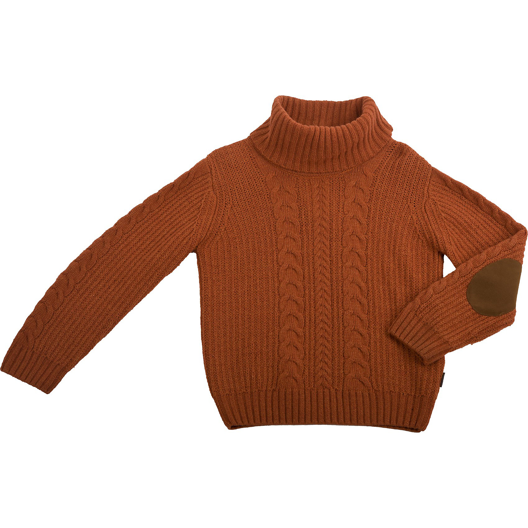 Свитер для мальчика GulliverСвитера и кардиганы<br>Теплый свитер  - вещь абсолютно необходимая  для зимнего гардероба! Прекрасный состав пряжи, в основе которой натуральная шерсть, делает его по-настоящему уютным и теплым. Наличие в составе вискозы и хлопка обеспечивают мягкость, необходимую для ребенка. Полочка свитера вывязана объемными косами, что делает его интересней и  придает всему изделию законченный вид. Модные налокотники добавляют изюминку.<br>Состав:<br>50% шерсть 30% вискоза 20% хлопок<br><br>Ширина мм: 190<br>Глубина мм: 74<br>Высота мм: 229<br>Вес г: 236<br>Цвет: оранжевый<br>Возраст от месяцев: 72<br>Возраст до месяцев: 84<br>Пол: Мужской<br>Возраст: Детский<br>Размер: 122<br>SKU: 3702049