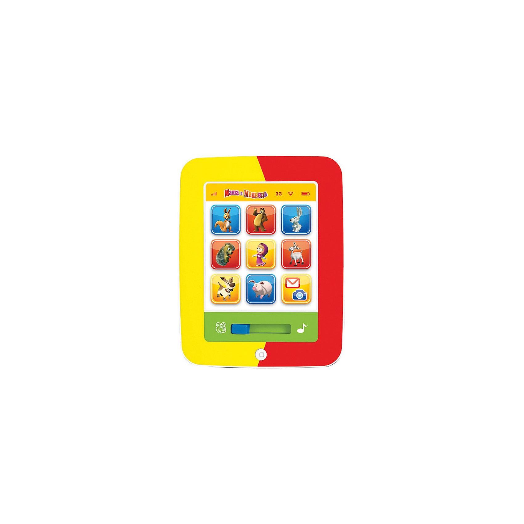Мой первый планшет, Маша и медведь, со светом и звуком, УмкаОбучающие плакаты и планшеты<br>Мой первый планшет, Маша и медведь, Умка - красочная развивающая игрушка, которая надолго увлечет Вашего ребенка и будет способствовать его интеллектуальному развитию. Игрушка выполнена в ярком привлекательном дизайне в форме планшета.<br><br>В игрушке предусмотрено 7 развивающих функций. На игровой панели размещены крупные разноцветные кнопки с изображениями персонажей мультфильма - забавных зверюшек. При нажатии на кнопки ребенок услышит названия и голоса животных, а также факты о них. На планшете можно прослушать 9 стихотворений и 2 песенки из мультфильма. Имеется  автоматическое отключение, световые и звуковые эффекты.<br><br>Дополнительная информация:<br><br>- Материал: пластик, металл.<br>- Требуются батарейки: 3 х АА (входят в комплект).<br>- Размер: 22 х 17 х 3 см.<br>- Вес: 0,376 кг.<br><br>Мой первый планшет, Маша и медведь, Умка можно купить в нашем интернет-магазине.<br><br>Ширина мм: 220<br>Глубина мм: 30<br>Высота мм: 290<br>Вес г: 390<br>Возраст от месяцев: 6<br>Возраст до месяцев: 36<br>Пол: Унисекс<br>Возраст: Детский<br>SKU: 3702462