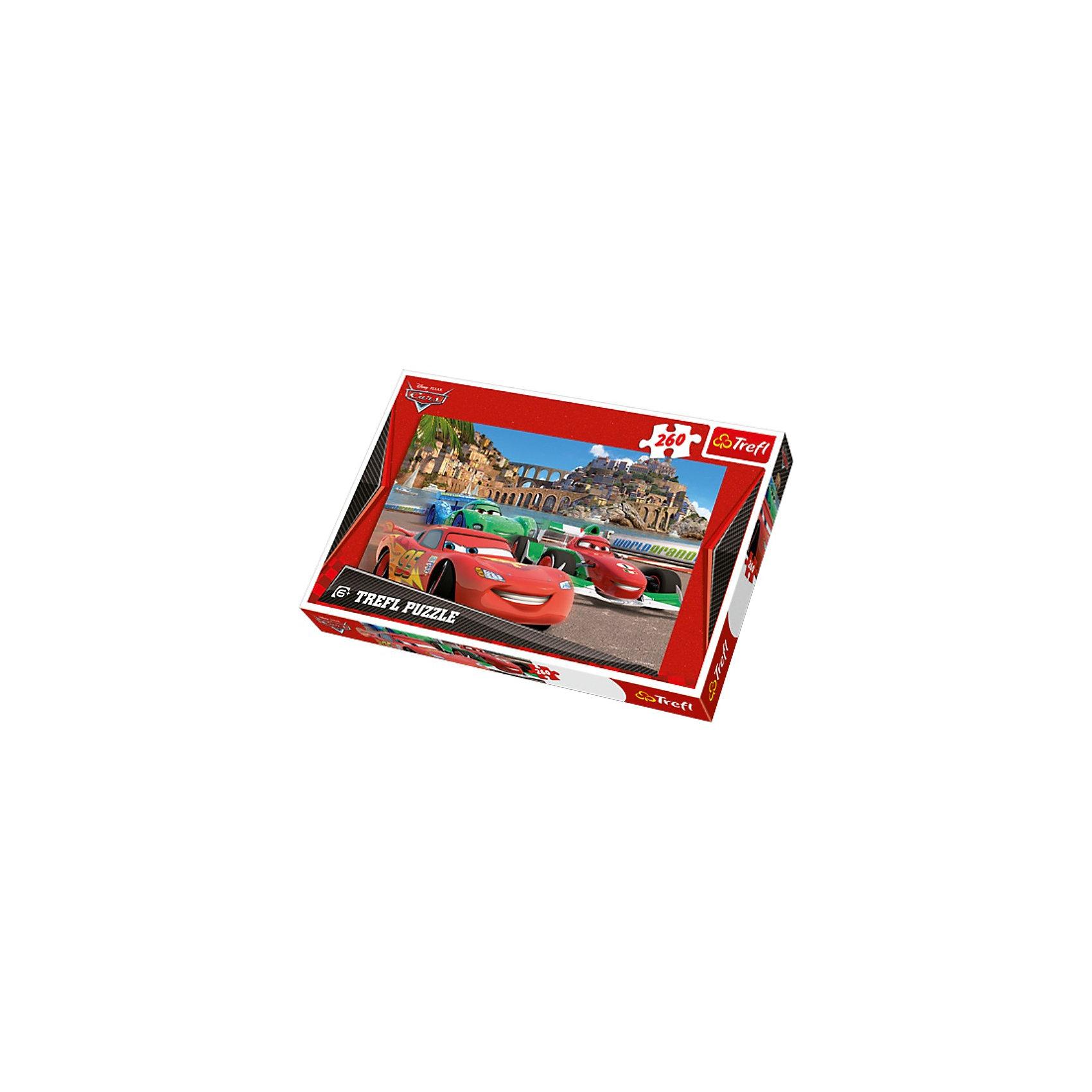 Пазл «Тачки в Порто Корсо», 260 деталей, TreflТачки<br>Характеристики товара:<br><br>• возраст от 6 лет;<br>• материал: картон;<br>• в комплекте: 260 элементов;<br>• размер пазла 60х40 см;<br>• размер упаковки 40х26,6х4,5 см;<br>• страна производитель: Польша.<br><br>Пазл «Тачки в Порто Корсо» Trefl создан по мотивам известного мультфильма «Тачки». На пазле изображены любимые персонажи мультфильма. Все элементы сделаны из качественного плотного картона. В процессе сборки у детей развиваются логическое мышление, усидчивость, моторика рук.<br><br>Пазл «Тачки в Порто Корсо» Trefl можно приобрести в нашем интернет-магазине.<br><br>Ширина мм: 398<br>Глубина мм: 273<br>Высота мм: 50<br>Вес г: 618<br>Возраст от месяцев: 96<br>Возраст до месяцев: 132<br>Пол: Мужской<br>Возраст: Детский<br>Количество деталей: 260<br>SKU: 3705620