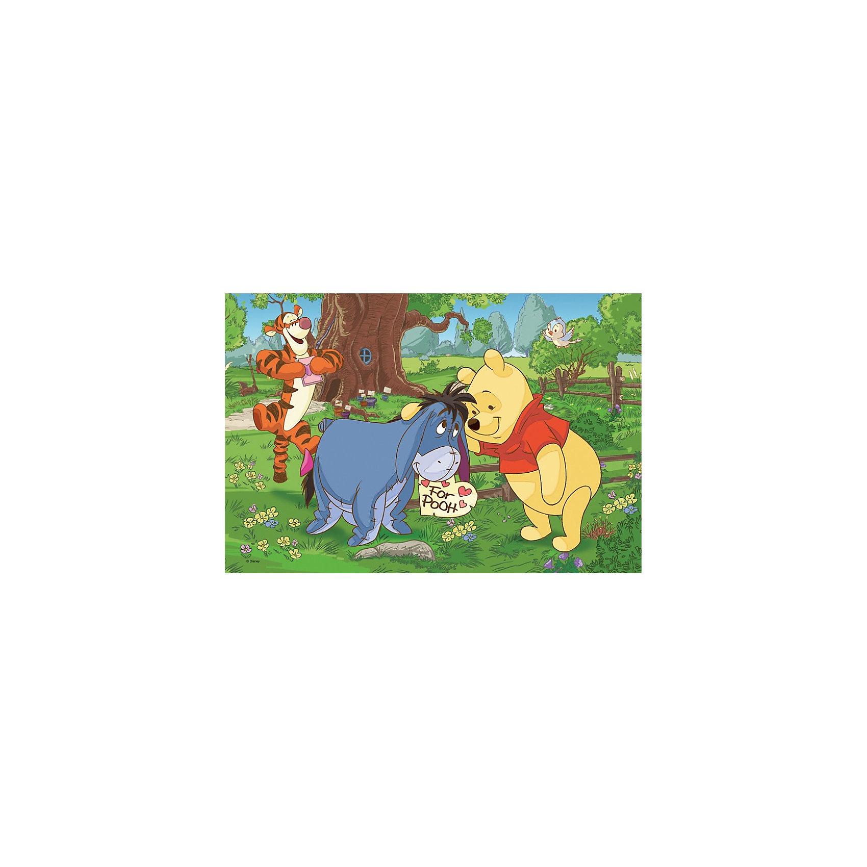 Пазлы Макси - Друзья Винни Пуха, 24 элемента, TreflПазлы для малышей<br>Пазл Макси - Друзья Винни Пуха от польской компании Trefl с любимыми героями мультфильма о плюшевом медвежонке и его друзьях не оставит Вашего малыша равнодушным. Пазл будет не только интересен, но и полезен для ребенка. При игре малыш сможет потренировать мелкую моторику рук, воображение, ассоциативное и логическое мышление.<br>Специальное покрытие позволит сохранить пазл в хорошем состоянии в течение долгого времени.<br>Количество элементов: 24 шт<br>Для детей от 3х лет<br><br>Ширина мм: 402<br>Глубина мм: 268<br>Высота мм: 50<br>Вес г: 653<br>Возраст от месяцев: 36<br>Возраст до месяцев: 60<br>Пол: Унисекс<br>Возраст: Детский<br>Количество деталей: 24<br>SKU: 3705627