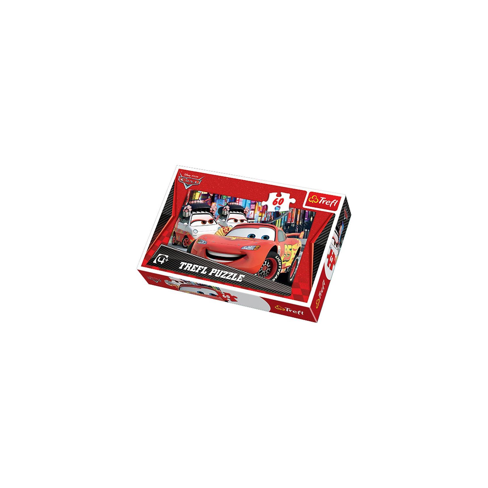 Пазлы Токио, 60 элементов, TreflПазлы для малышей<br>Пазл «Токио» подойдет для каждого маленького любителя головоломок и поклонника красного гоночного автомобиля Молнии Маккуина из мультфильма «Тачки». На картинке изображен популярный герой, гуляющий по улицам Японского города Токио, а за его спиной красуются небольшие японские машинки, которые без ума от этого очаровательного гонщика. Пазл выполнен из качественных и безопасных материалов, не токсичный и противоаллергенный. <br>Размер готового пазла: 32х22 см.<br>Количество элементов: 60 шт.<br>Для детей от 4 лет.<br><br>Ширина мм: 214<br>Глубина мм: 147<br>Высота мм: 40<br>Вес г: 192<br>Возраст от месяцев: 60<br>Возраст до месяцев: 84<br>Пол: Мужской<br>Возраст: Детский<br>Количество деталей: 60<br>SKU: 3705647