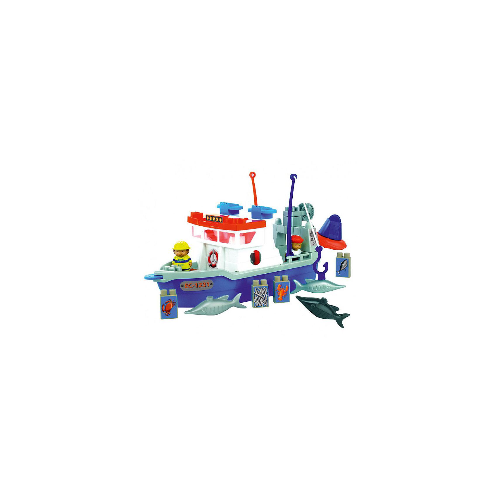 Конструктор Рыболовецкое судно, EcoiffierКонструктор Рыболовецкое судно, Ecoiffier - увлекательный игровой набор, из деталей которого можно собрать настоящую рыболовную шхуну со всеми необходимыми приспособлениями. Яркие и крупные детали безопасны для ребенка и очень удобны для детских ручек, поэтому набор идеально подходит для самых маленьких детишек.<br><br>На палубе корабля установлены тросы с крючками на концах для ловли рыбы, на корме имеется лебедка для подъема улова. В комплекте забавные аксессуары, которые сделают игру еще интереснее: кубики с изображениями морских обитателей, фигурки рыб и рыбаков. Игрушка развивает у ребенка мелкую моторику рук, логическое мышление и творческую фантазию.<br><br>Дополнительная информация:<br><br>- В комплекте 30 предметов: детали для сборки корабля, две фигурки рыбаков, 3 рыбки, два троса с крючками, 4 кубика с наклейками, изображающие морских животных. <br>- Материал: пластик. <br>- Размер игрушки: 42 х 17,5 х 23 см.<br>- Размер упаковки: 44 х 30 х 13 см.<br>- Вес: 0,845 кг. <br><br>Набор Рыболовецкое судно, Ecoiffier можно купить в нашем интернет-магазине.<br><br>Ширина мм: 430<br>Глубина мм: 120<br>Высота мм: 300<br>Вес г: 845<br>Возраст от месяцев: 18<br>Возраст до месяцев: 96<br>Пол: Мужской<br>Возраст: Детский<br>SKU: 3709515