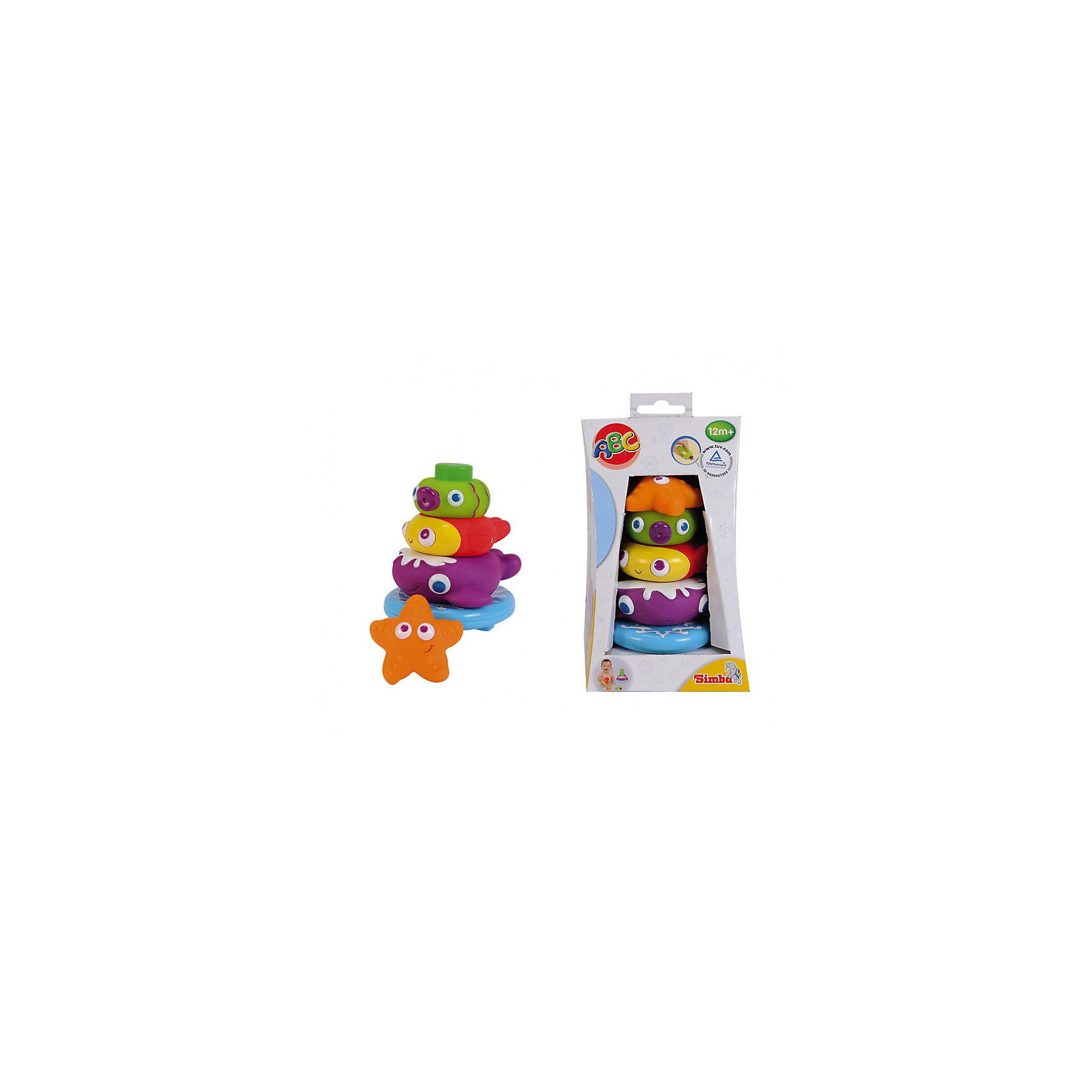 Пирамидка с животными, 13,5 см, SimbaИгрушки ПВХ<br>Характеристики:<br><br>• высота пирамидки: 13,5 см;<br>• особенности игрушки: для купания, игрушки-брызгалки;<br>• тип крепления деталей пирамидки друг к другу: липучки;<br>• материал: резина;<br>• размер упаковки: 14,5х13х13 см;<br>• вес: 279 г.<br><br>Устроить настоящие брызги во время купания вам помогут игрушки-брызгалки «Морские обитатели». Резиновые игрушки выпускают струйки воды, которые так веселят кроху. Фигурки разного размера и диаметра являются деталями пирамидки. <br><br>Пирамидку с животными, 13,5 см, Simba можно купить в нашем магазине.<br><br>Ширина мм: 120<br>Глубина мм: 120<br>Высота мм: 210<br>Вес г: 300<br>Возраст от месяцев: 12<br>Возраст до месяцев: 36<br>Пол: Унисекс<br>Возраст: Детский<br>SKU: 3709518