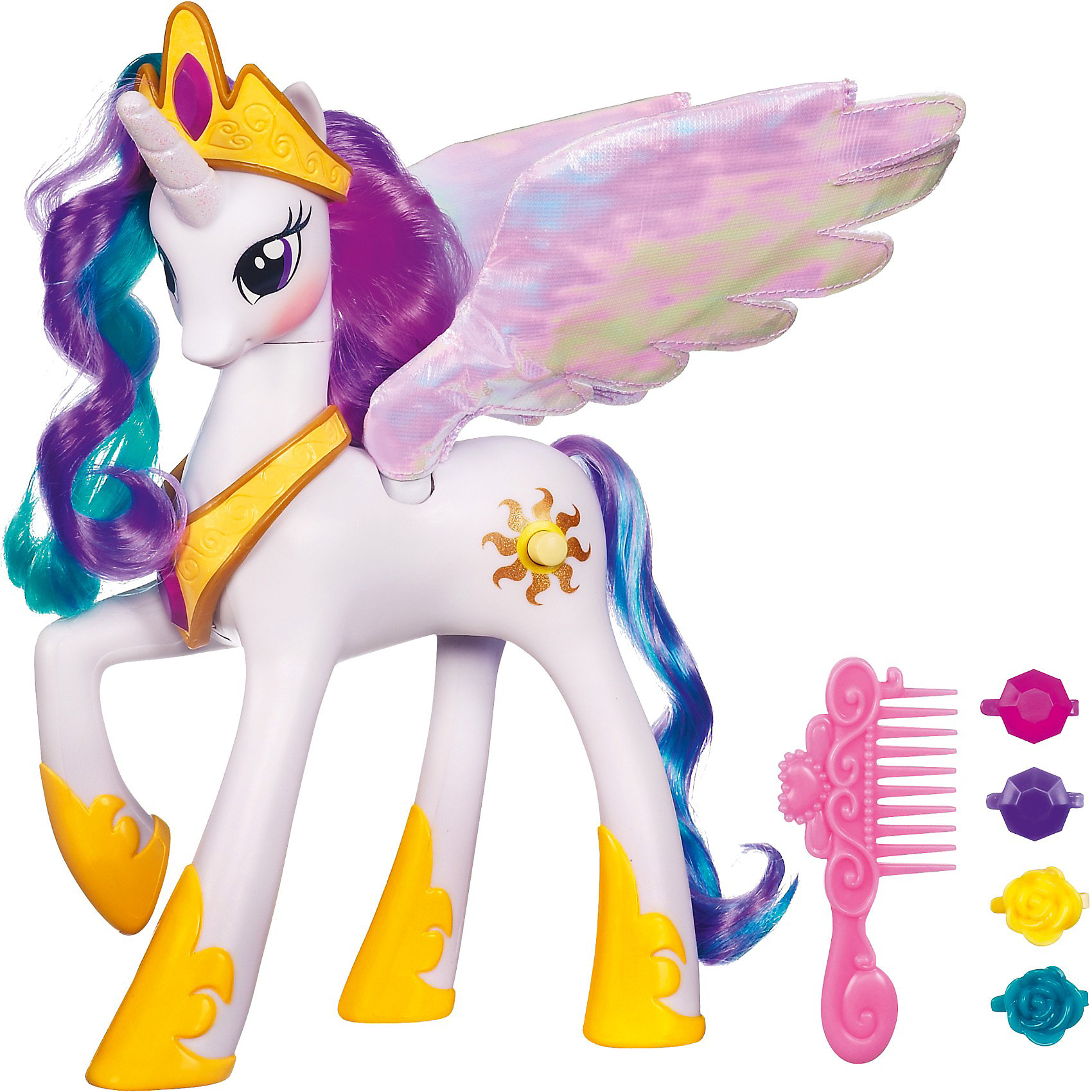 Пони Принцесса Селестия , My little PonyПони Принцесса Селестия, My little Pony (Моя маленькая Пони) порадует всех юных поклонниц волшебных лошадок из популярного мультсериала Дружба -это чудо( My Little Pony: Friendship Is Magic). Принцесса Селестия является одной из правительниц Эквестрии - страны пони, в которой разворачиваются события мультсериала, она пони-аликорн с крыльями и рогом как у единорога. В наборе Вы найдете интерактивную фигурку пони и аксессуары к ней.<br><br>Волшебная пони говорит несколько фраз на английском языке и машет крыльями, которые подсвечиваются во время игры. Чтобы пони ожила, нужно нажать ей на кнопочку на задней ноге. Роскошную фиолетово-розовую гриву лошадки можно расчесывать и украшать красивыми заколками, входящими в комплект.<br><br>Дополнительная информация:<br><br>- В комплекте: пони, расческа, 4 заколки. <br>- Материал: пластмасса, текстиль. <br>- Требуются батарейки: 2 х ААА (входят в комплект). <br>- Размер упаковки: 8,3 х 28,9 х 25,7 см.<br>- Вес: 0,52 кг.<br><br>Игрушку Пони Принцесса Селестия, My little Pony (Май Литл Пони) можно купить в нашем интернет-магазине.<br><br>Ширина мм: 293<br>Глубина мм: 261<br>Высота мм: 86<br>Вес г: 486<br>Возраст от месяцев: 48<br>Возраст до месяцев: 72<br>Пол: Женский<br>Возраст: Детский<br>SKU: 3710034