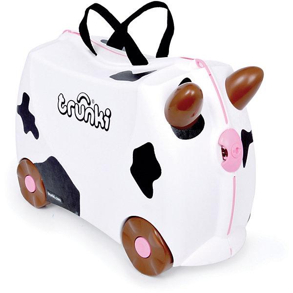 Чемодан на колесиках ФридаДорожные сумки и чемоданы<br>Вместительный, удобный чемодан Фрида - замечательный вариант для маленьких путешественников. Оригинальный чемодан выполнен из прочного пластика в виде черно-белой пятнистой коровки с рожками и розовым носиком. Размеры позволяют брать его в самолет как ручную кладь. Чемоданчик может использоваться как детский стульчик и как оригинальное средство передвижения. Благодаря надежным колесикам, удобной конструкции седла и стабилизаторам малыш ездит на чемодане как на каталке, отталкиваясь ножками и держась за рожки коровки.<br><br>Чемодан оснащен удобными ручками для переноски и надежным замком с ключиком на конце ремешка. С помощью ручного буксировочного ремня коровку можно везти по полу или нести на плече. Внутри просторное двустворчатое отделение для одежды и дорожных принадлежностей с ремнями для фиксации одежды, а также потайные секретные отсеки для мелочей. Все детали выполнены из экологически чистых, безопасных для детского здоровья материалов. Собственный чемодан для путешествий позволит ребенку почувствовать себя взрослым и самостоятельным.<br><br><br>Дополнительная информация:<br><br>- Материал: высококачественный пластик.<br>- Объем: 18 л.<br>- Максимальная нагрузка: 45 кг.<br>- Размер чемодана: 46 х 20,5 х 31 см.<br>- Вес: 1,7 кг.<br><br>Чемодан на колесиках Фрида, Trunki, можно купить в нашем интернет-магазине.<br><br>Ширина мм: 472<br>Глубина мм: 235<br>Высота мм: 335<br>Вес г: 2071<br>Возраст от месяцев: 72<br>Возраст до месяцев: 72<br>Пол: Унисекс<br>Возраст: Детский<br>SKU: 3711103