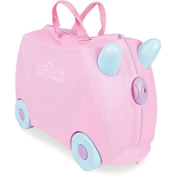 Чемодан на колесах РозиДорожные сумки и чемоданы<br>Вместительный удобный чемодан Рози - замечательный вариант для маленьких путешественниц. Оригинальный чемодан выполнен из прочного пластика и имеет привлекательный дизайн с нежно-розовой расцветкой и забавными голубыми рожками. Размеры позволяют брать его в самолет как ручную кладь. Чемоданчик может использоваться как детский стульчик и как оригинальное средство передвижения. Благодаря надежным колесикам, удобной конструкции седла и стабилизаторам малышка ездит на чемодане как на каталке, отталкиваясь ножками и держась за рожки. <br><br>Чемодан оснащен удобными ручками для переноски и надежным замком с ключиком. С помощью ручного буксировочного ремня его можно везти по полу или нести на плече. Внутри просторное двустворчатое отделение для одежды и дорожных принадлежностей с ремнями для фиксации одежды, а также потайные секретные отсеки для мелочей. Все детали выполнены из экологически чистых, безопасных для детского здоровья материалов. Собственный чемодан для путешествий позволит ребенку почувствовать себя взрослым и самостоятельным.<br><br>Дополнительная информация:<br><br>- Материал: высококачественный пластик.<br>- Объем: 18 л.<br>- Максимальная нагрузка: 45 кг.<br>- Размер чемодана: 46 х 20,5 х 31 см.<br>- Вес: 1,7 кг.<br><br>Чемодан на колесиках Рози, Trunki, можно купить в нашем интернет-магазине.<br><br>Ширина мм: 461<br>Глубина мм: 215<br>Высота мм: 365<br>Вес г: 528<br>Возраст от месяцев: 72<br>Возраст до месяцев: 72<br>Пол: Унисекс<br>Возраст: Детский<br>SKU: 3711104