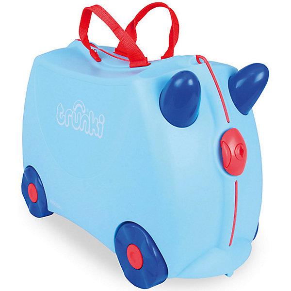 Чемодан на колесах ДжорждДорожные сумки и чемоданы<br>Вместительный удобный чемодан Джордж - замечательный вариант для маленьких путешественников. Оригинальный чемодан выполнен из прочного пластика и имеет привлекательный дизайн с нежно-голубой расцветкой и забавными синими рожками. Размеры позволяют брать его в самолет как ручную кладь. Чемоданчик может использоваться как детский стульчик и как оригинальное средство передвижения. Благодаря надежным колесикам, удобной конструкции седла и стабилизаторам малыш ездит на чемодане как на каталке, отталкиваясь ножками и держась за рожки. <br><br>Чемодан оснащен удобными ручками для переноски и надежным замком с ключиком. С помощью ручного буксировочного ремня его можно везти по полу или нести на плече. Внутри одно просторное отделение для одежды и дорожных принадлежностей с ремнями для фиксации одежды, а также потайные секретные отсеки для мелочей. Все детали выполнены из экологически чистых, безопасных для детского здоровья материалов. Собственный чемодан для путешествий позволит ребенку почувствовать себя взрослым и самостоятельным.<br><br>Дополнительная информация:<br><br>- Материал: высококачественный пластик.<br>- Объем: 18 л.<br>- Максимальная нагрузка: 45 кг.<br>- Размер чемодана: 46 х 20,5 х 31 см.<br>- Вес: 1,7 кг.<br><br>Чемодан на колесиках Джордж, Trunki, можно купить в нашем интернет-магазине.<br><br>Ширина мм: 470<br>Глубина мм: 330<br>Высота мм: 230<br>Вес г: 1900<br>Возраст от месяцев: 72<br>Возраст до месяцев: 72<br>Пол: Женский<br>Возраст: Детский<br>SKU: 3711107