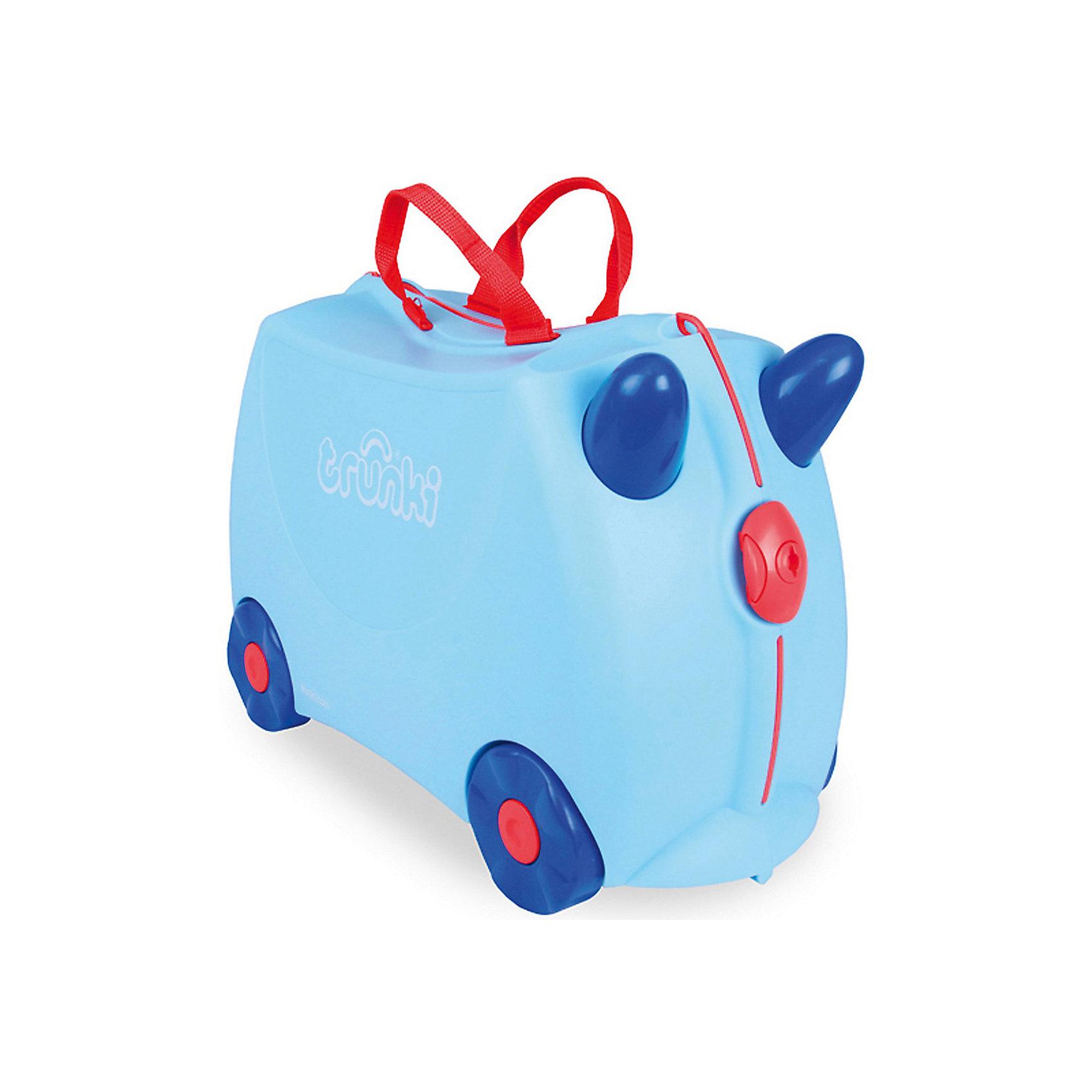 Чемодан на колесах ДжорждВместительный удобный чемодан Джордж - замечательный вариант для маленьких путешественников. Оригинальный чемодан выполнен из прочного пластика и имеет привлекательный дизайн с нежно-голубой расцветкой и забавными синими рожками. Размеры позволяют брать его в самолет как ручную кладь. Чемоданчик может использоваться как детский стульчик и как оригинальное средство передвижения. Благодаря надежным колесикам, удобной конструкции седла и стабилизаторам малыш ездит на чемодане как на каталке, отталкиваясь ножками и держась за рожки. <br><br>Чемодан оснащен удобными ручками для переноски и надежным замком с ключиком. С помощью ручного буксировочного ремня его можно везти по полу или нести на плече. Внутри одно просторное отделение для одежды и дорожных принадлежностей с ремнями для фиксации одежды, а также потайные секретные отсеки для мелочей. Все детали выполнены из экологически чистых, безопасных для детского здоровья материалов. Собственный чемодан для путешествий позволит ребенку почувствовать себя взрослым и самостоятельным.<br><br>Дополнительная информация:<br><br>- Материал: высококачественный пластик.<br>- Объем: 18 л.<br>- Максимальная нагрузка: 45 кг.<br>- Размер чемодана: 46 х 20,5 х 31 см.<br>- Вес: 1,7 кг.<br><br>Чемодан на колесиках Джордж, Trunki, можно купить в нашем интернет-магазине.<br><br>Ширина мм: 470<br>Глубина мм: 330<br>Высота мм: 230<br>Вес г: 1900<br>Возраст от месяцев: 36<br>Возраст до месяцев: 72<br>Пол: Женский<br>Возраст: Детский<br>SKU: 3711107