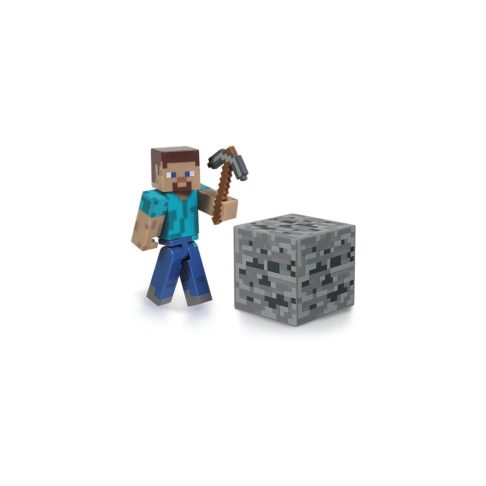 Фигурка Стив, 8см, MinecraftИгрок Steve, с аксессуарами, 8 см, Minecraft (Майнкрафт) - фигурка из виртуального мира Minecraft. Игрушка изображает игрока Стиви, который выглядит точно так же, как и в компьютерной игре. Фигурка выполнена из высококачественного материала. В комплекте  с  игрушкой- кирка, главный инструмент копателя и блок- кубик. Собери всех участников игры и создай свой мир Minecraft.<br><br>Дополнительная информация:<br><br>- Цвет: синий, голубой, коричневый, серый<br>- Высота: 8 см<br>- Материал: пластик<br>- Подвижные руки, ноги и голова<br>- Комплектация: фигурка, кирка, блок-кубик<br><br>Игрока Steve, с аксессуарами, 8 см, Minecraft (Майнкрафт)  можно купить в нашем магазине.<br><br>Ширина мм: 183<br>Глубина мм: 146<br>Высота мм: 53<br>Вес г: 74<br>Возраст от месяцев: 72<br>Возраст до месяцев: 120<br>Пол: Мужской<br>Возраст: Детский<br>SKU: 3712315
