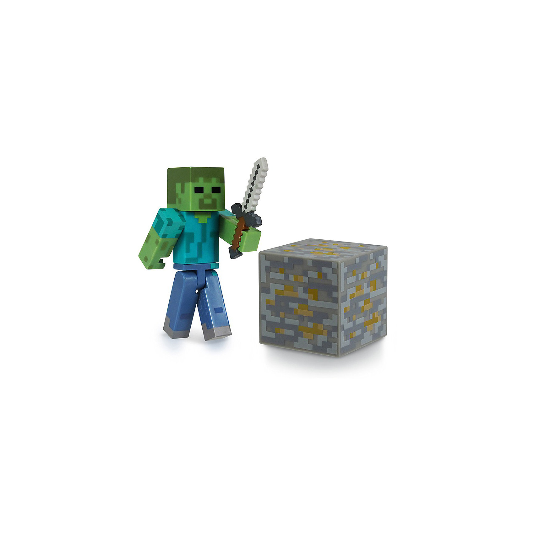Фигурка Зомби, 8см, MinecraftЗомби с аксессуарами, 8 см, Minecraft (Майнкрафт) - фигурка из виртуального мира Minecraft. Игрушка изображает одного из противников, опасного персонажа, которого можно встретить в игре. В комплекте с игрушкой - фирменный, легкоузнаваемый меч,  блок- кубик. Фигурка выполнена из высококачественного материала. Собери всех участников игры и создай свой мир Minecraft.<br><br>Дополнительная информация:<br><br>- Цвет: синий, голубой, зеленый, серый<br>- Высота: 8 см<br>- Материал: пластик<br>- Подвижные руки, ноги и голова<br>- Комплектация: фигурка, меч, блок-кубик<br><br>Зомби с аксессуарами, 8 см, Minecraft (Майнкрафт) можно купить в нашем магазине.<br><br>Ширина мм: 177<br>Глубина мм: 147<br>Высота мм: 50<br>Вес г: 68<br>Возраст от месяцев: 36<br>Возраст до месяцев: 96<br>Пол: Мужской<br>Возраст: Детский<br>SKU: 3712317