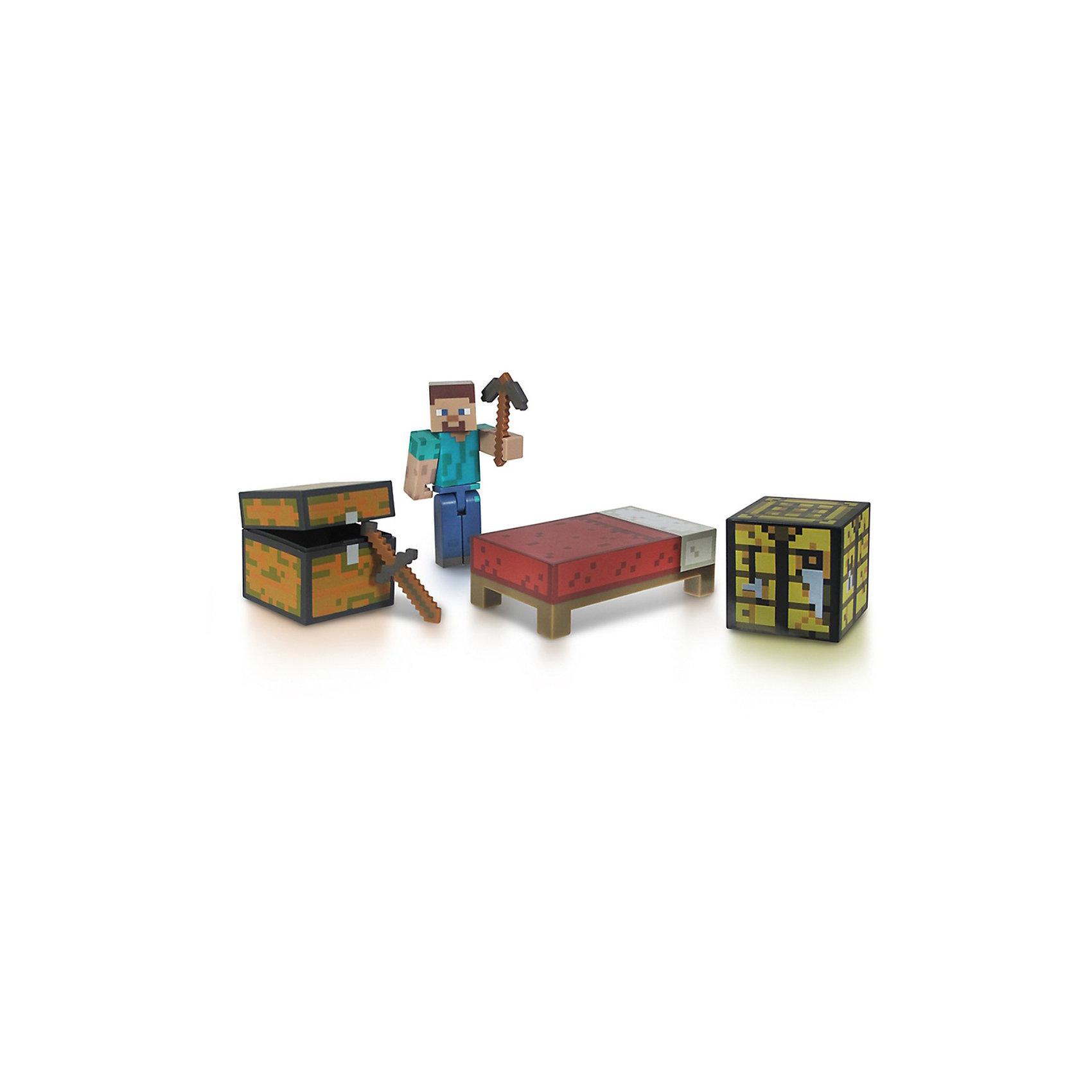 Фигурка с набором для выживания, 8 см, MinecraftФигурка с набором для выживания, 8 см, Minecraft (Майнкрафт) – это игровой набор, выполненный по мотивам культовой игры Майнкрафт.<br>Набор включает в себя фигурку всем известного Стива – персонажа игры Minecraft, а также некоторые самые типичные для этого персонажа аксессуары, помогающие ему выжить в блочном пиксельном мире Minecraft. В наборе меч, кирка, сундук и дополнительные инвентарные блоки, такие как верстак и кровать. Руки и ноги у Стива подвижные, а кирку и меч он может взять в руки. Этот набор превосходно подойдет в качестве подарка ребенку или фанату игры Minecraft. В процессе игры ребенок будет выдумывать различные сюжеты, развивая свое воображение.<br><br>Дополнительная информация:<br><br>- В комплекте: фигурка Стива, меч, кирку, сундук, верстак, кровать<br>- Материал: высококачественный пластик<br>- Размер: 8 см.<br>- Размер упаковки: 14,5 х 17,5 х 5 см.<br><br>Фигурку с набором для выживания, 8 см, Minecraft (Майнкрафт) можно купить в нашем интернет-магазине.<br><br>Ширина мм: 235<br>Глубина мм: 208<br>Высота мм: 55<br>Вес г: 128<br>Возраст от месяцев: 72<br>Возраст до месяцев: 120<br>Пол: Мужской<br>Возраст: Детский<br>SKU: 3712318