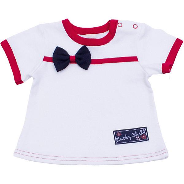 Футболка для девочки Lucky ChildФутболки, топы<br>Футболка для девочки Lucky Child<br>Неповторимое достоинство одежды от Lucky Child заключается в универсальной роскоши вещей. Одну и ту же вещь можно надеть на торжественное мероприятие и для прогулки на улице. Футболка – полезная вещь в гардеробе каждого модника, она отлично сочетается со штанишками, юбочками или шортиками. Комплект нарядов ограничивается только вашей фантазией!<br>Состав : 100% хлопок<br><br>Ширина мм: 199<br>Глубина мм: 10<br>Высота мм: 161<br>Вес г: 151<br>Цвет: кремовый<br>Возраст от месяцев: 24<br>Возраст до месяцев: 36<br>Пол: Женский<br>Возраст: Детский<br>Размер: 92/98,74/80,68/74,80/86,86/92,98/104,62/68<br>SKU: 3713369