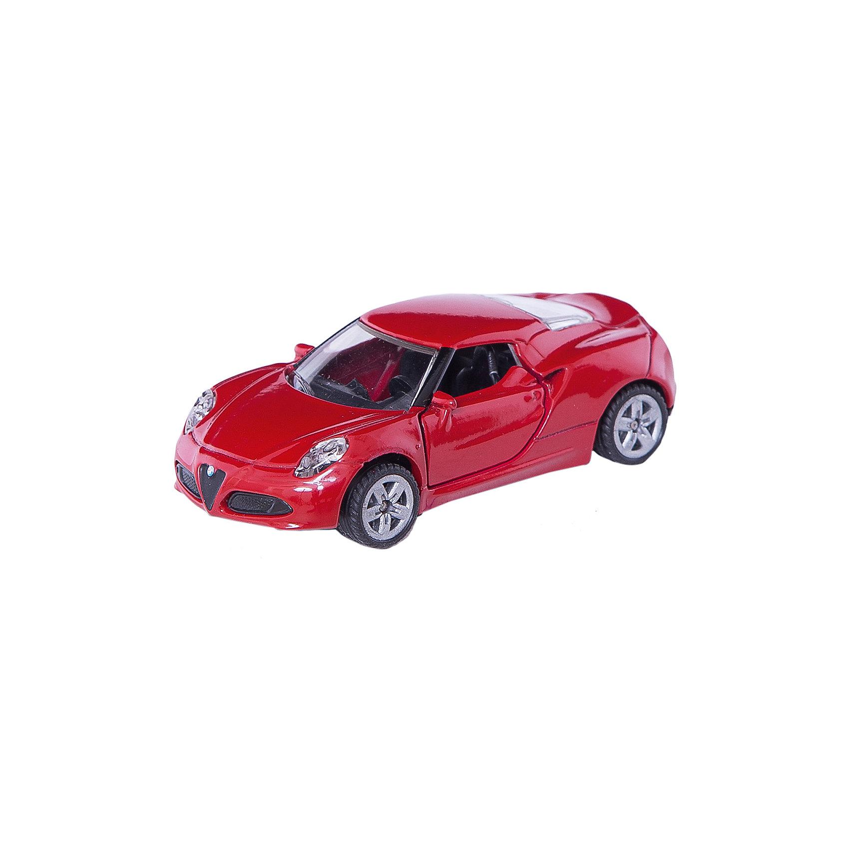 SIKU 1451 Альфа Ромео 4cКоллекционные модели<br>Машина Альфа Ромео 4c, Siku, станет замечательным подарком для автолюбителей всех возрастов. Модель представляет из себя реалистичную копию популярного спорткара Альфа Ромео 4c и отличается высокой степенью детализации и тщательной проработкой всех элементов. Стильная машинка ярко-красного цвета оснащена прозрачными лобовыми стеклами, в салоне можно увидеть сиденья и руль, двери открываются, спереди и сзади пластиковые фары. Колеса вращаются, широкие шины оборудованы спортивными колесными дисками. Корпус модели обтекаемой формы выполнен из металла, детали изготовлены из ударопрочной пластмассы.<br><br>Дополнительная информация:<br><br>- Материал: металл, пластик.<br>- Масштаб: 1:55.<br>- Размер машинки: 7,8 x 9,7 x 3,8 см.<br>- Вес: 59 гр.<br><br>1451 Альфа Ромео 4c, Siku, можно купить в нашем интернет-магазине.<br><br>Ширина мм: 96<br>Глубина мм: 78<br>Высота мм: 40<br>Вес г: 59<br>Возраст от месяцев: 36<br>Возраст до месяцев: 96<br>Пол: Мужской<br>Возраст: Детский<br>SKU: 3716514