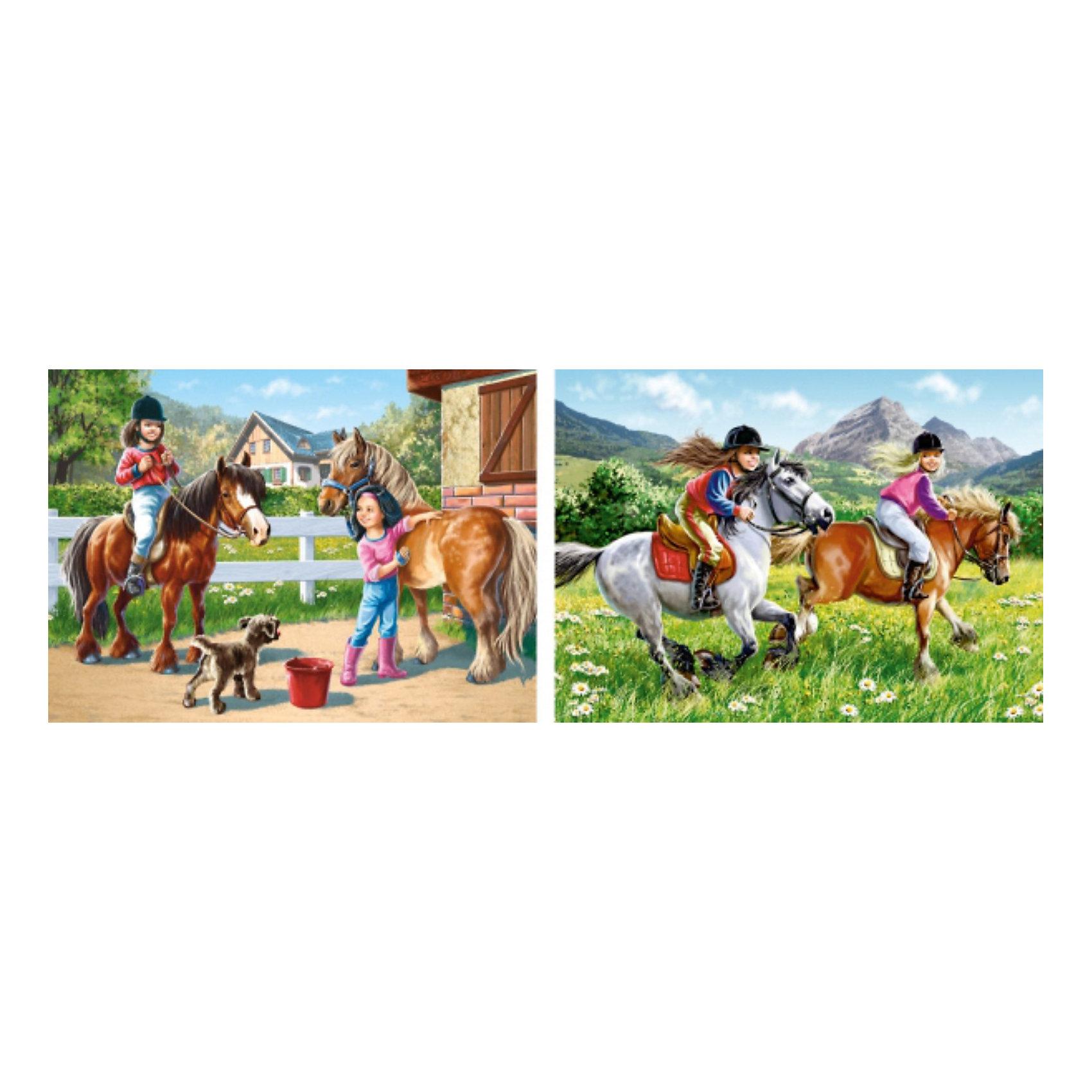 Набор пазлов Верхом на лошади, 165*240 деталей, CastorlandПазлы для детей постарше<br>Дети обожают лошадок! Они умиляют детишек всех возрастов, а с набором пазлов Верхом на лошади Castorland (Касторленд) дети смогут своими руками собрать изображение любимых животных и маленьких наездников! Такое занятие не оставит  равнодушным  Вашего ребенка! Сборка красочных пазлов Верхом на лошади Castorland (Касторленд) подарит Вашим детям не только несколько вечеров творчества, но и принесет пользу для развития. Подбор деталей друг к другу способствует развитию образного и логического мышления, наблюдательности, мелкой моторики и координации движений руки. Красочный пазл с интересным сюжетом и цветовыми градациями состоит из глянцевых, приятных на ощупь деталей с ровными краями и идеальной проклейкой. Точная нарезка гарантирует легкость стыковки и многократность сборки без потери внешнего вида!<br><br>Дополнительная информация:<br><br>- В наборе 2 картинки: 165 и 240 деталей;<br>- Прекрасный подарок для любителя лошадей;<br>- Детали не будут расслаиваться, что обеспечит долгий срок службы;<br>- Детали идеально подходят друг другу;<br>- Яркие картинки;<br>- Материал: картон;<br>- Размер собранной картинки: 32 х 23 см;<br>- Вес: 246 г<br><br>Набор пазлов Верхом на лошади, 165, 240 деталей, Castorland (Касторленд) можно купить в нашем интернет-магазине.<br><br>Ширина мм: 245<br>Глубина мм: 175<br>Высота мм: 37<br>Вес г: 150<br>Возраст от месяцев: 72<br>Возраст до месяцев: 1188<br>Пол: Унисекс<br>Возраст: Детский<br>Количество деталей: 165<br>SKU: 3717134
