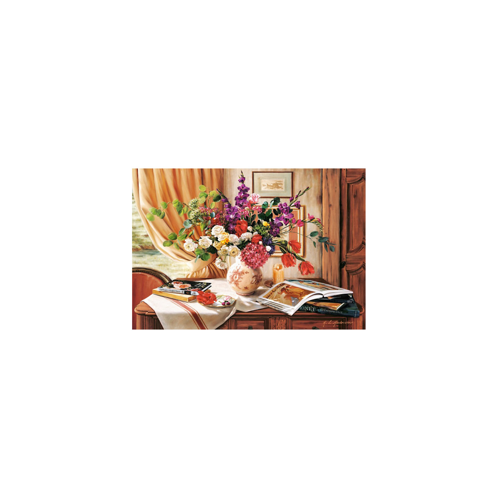 Пазл Дневной свет, 1000 деталей , CastorlandСборка красочного пазла Дневной свет Castorland (Касторленд) подарит всей семье не только несколько вечеров совместного творчества, но и принесет пользу для развития ребенка. Подбор деталей друг к другу способствует развитию образного и логического мышления, наблюдательности, мелкой моторики и координации движений руки. Красочный пазл с интересным сюжетом и цветовыми градациями состоит из глянцевых, приятных на ощупь деталей с ровными краями и идеальной проклейкой. Точная нарезка гарантирует легкость стыковки и многократность сборки без потери внешнего вида. Пазл Дневной свет – это сочные цвета, обилие художественных деталей, интересная сюжетная линия. Такой картиной не только приятно любоваться – её интересно собирать! Ведь всё изображенное на ней выглядит как живое! И кажется, будто сейчас над этим роскошным букетом закружит пчела, выбирая подходящий цветок…<br>Разнообразьте ваш привычный интерьер этим красивым натюрмортом или преподнесите этот набор от Castorland (Касторленд) тем, кто любит пазлы и неравнодушен к живописи!<br><br>Дополнительная информация:<br><br>- Количество деталей: 1000;<br>- Детали не будут расслаиваться, что обеспечит долгий срок службы;<br>- Детали идеально подходят друг другу;<br>- Яркий сюжет;<br>- Материал: картон;<br>- Размер собранной картинки: 68 х 47 см.<br><br>Пазл Дневной свет, 1000 деталей, Castorland (Касторленд) можно купить в нашем интернет-магазине.<br><br>Ширина мм: 350<br>Глубина мм: 250<br>Высота мм: 50<br>Вес г: 500<br>Возраст от месяцев: 168<br>Возраст до месяцев: 1188<br>Пол: Унисекс<br>Возраст: Детский<br>Количество деталей: 1000<br>SKU: 3717136