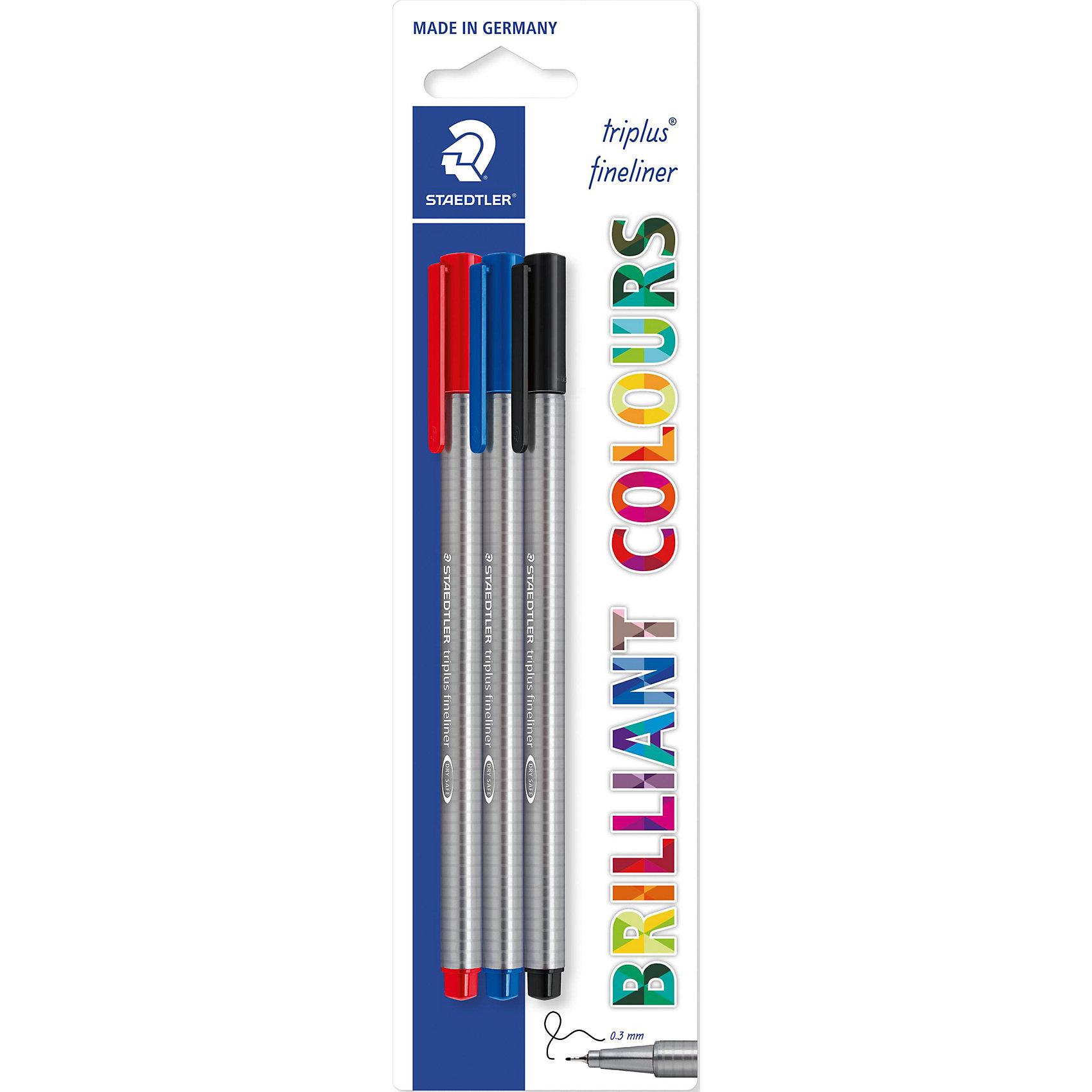 Капиллярная ручка Triplus Liner, синий, черный, красный, StaedtlerПисьменные принадлежности<br>Капиллярная ручка Triplus Liner, Staedtler идеально подойдет для школьных занятий и творчества. У ручки эргономичный трехгранный корпус, обеспечивающий комфортное письмо и прочный металлический наконечник. Ручка отличается мягкостью и плавностью при письме. Уникальная система «DRY SAFE» позволяет оставлять ручку без колпачка на несколько дней без угрозы высыхания. В комплекте 3 ручки: синяя, черная, красная.<br><br>Дополнительная информация:<br><br>- Цвета: синий, черный, красный.<br>- Толщина линии: 0,3 мм.<br>- Размер упаковки: 20 х 2 х 10 см.<br>- Вес: 50 гр.<br><br>Капиллярную ручку Triplus Liner (синий, черный, красный), Staedtler можно купить в нашем интернет-магазине.<br><br>Ширина мм: 200<br>Глубина мм: 20<br>Высота мм: 100<br>Вес г: 50<br>Возраст от месяцев: 72<br>Возраст до месяцев: 192<br>Пол: Унисекс<br>Возраст: Детский<br>SKU: 3717632
