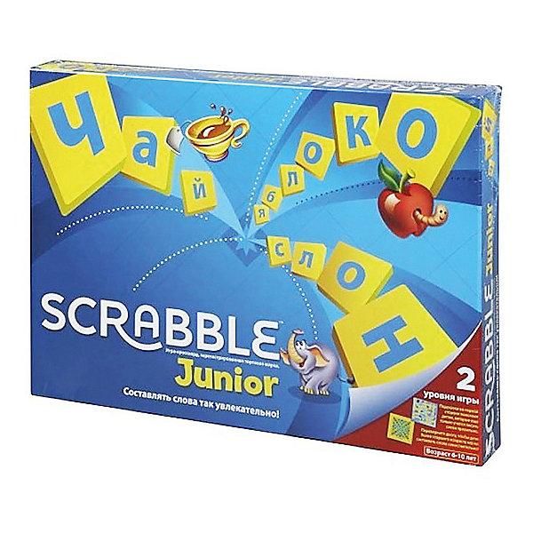 Настольная игра Скрабл Джуниор, Mattel GamesИгры со словами<br>Настольная детская игра Скрабл Джуниор (Scrabble) - увлекательная и захватывающая игра, в которую можно играть всей семьей. Игра поможет ребенку познакомиться с алфавитом, новыми словами и их правильным написанием. Игровое поле «Скрабл Джуниор» имеет две стороны, каждая из которых предназначена для двух разных игр: «Слова и картинки» и «Цвета и жетоны». Первый вариант рассчитан на детей 5 -8 лет с подсказками слов на поле, второй вариант для детей от 7 лет - игра по-взрослому, без подсказок.<br><br>Сюжет игры Скрэббл - составлять слова из имеющихся на руках фишек с буквами. Голубая сторона доски предназначена для игры «Слова и картинки». На этом игровом поле изображены слова с иллюстрациями. В процессе игры дети составляют из фишек с буквами слова на основе картинок. За каждое составленное слово участник получает голубой жетон. Победителем становится игрок с наибольшим количеством жетонов.<br><br>Вторая сторона игровой доски имеет желто-оранжевый цвет и предназначена для игры «Цвета и жетоны». Эта игра подходит детям старшего возраста. Игроки получают по пять фишек с буквами, из которых они должны составить слова по принципу кроссворда. Перед следующим ходом игрок добирает израсходованные фишки. За каждую использованную букву игрок получает очко. Цель игры - набрать как можно больше очков. В игре могут участвовать от 2 до 4 игроков.<br><br>Дополнительная информация:<br><br>- В комплекте: двусторонняя игровая доска, 84 косточки с буквами, включая две пустые, 30 голубых жетонов, мешочек для косточек, буклет с правилами игры на русском языке.<br>- Материал: высококачественный пластик.<br>- Размер упаковки:  37 ? 27 ? 4,5 см.<br>- Вес: 0,683 кг. <br><br>Настольную детскую игру Скрабл Джуниор, Mattel можно купить в нашем интернет-магазине.<br>Ширина мм: 370; Глубина мм: 45; Высота мм: 265; Вес г: 683; Возраст от месяцев: 60; Возраст до месяцев: 84; Пол: Унисекс; Возраст: Детский; SKU: 3718062;