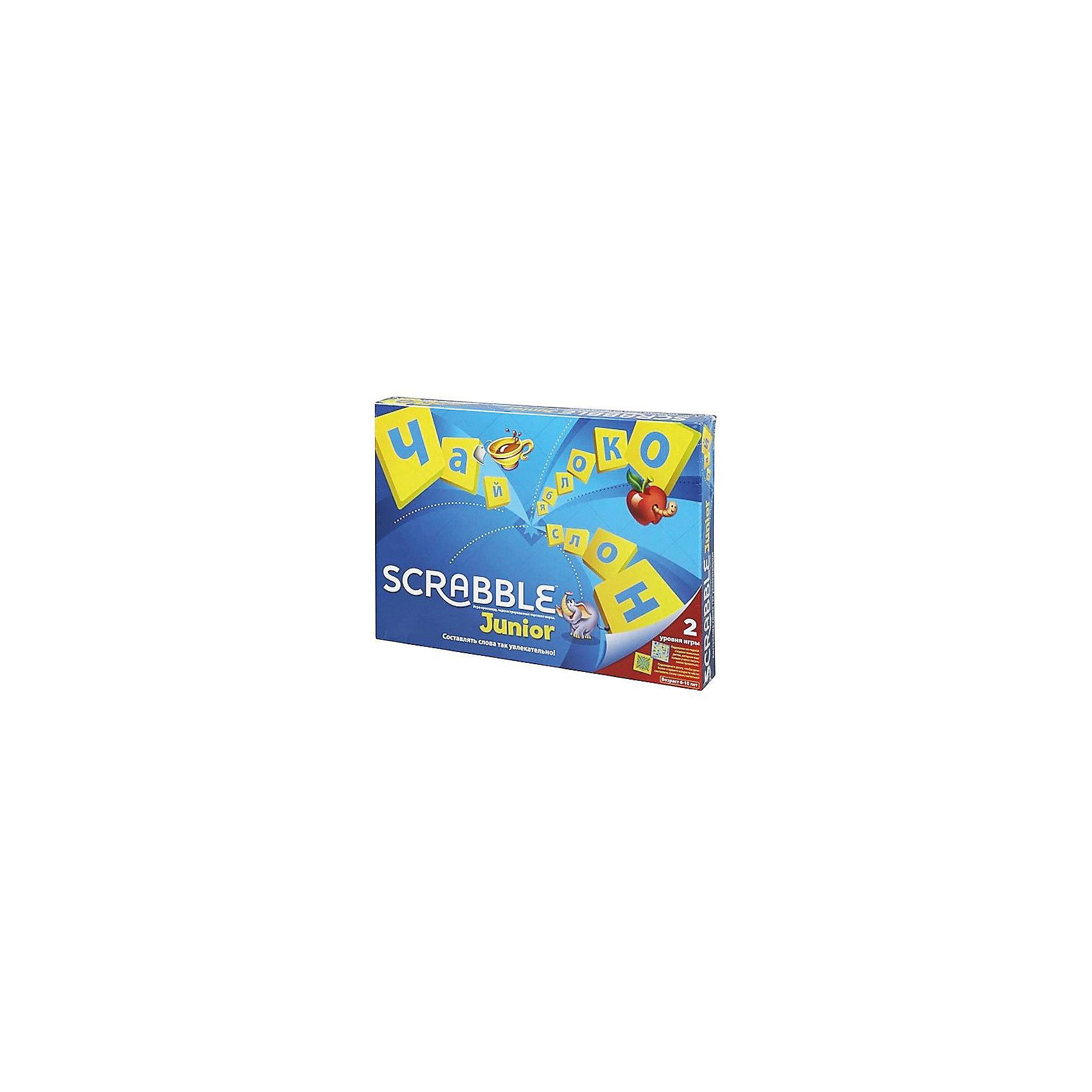 Настольная игра Скрабл Джуниор, Mattel GamesДля больших компаний<br>Настольная детская игра Скрабл Джуниор (Scrabble) - увлекательная и захватывающая игра, в которую можно играть всей семьей. Игра поможет ребенку познакомиться с алфавитом, новыми словами и их правильным написанием. Игровое поле «Скрабл Джуниор» имеет две стороны, каждая из которых предназначена для двух разных игр: «Слова и картинки» и «Цвета и жетоны». Первый вариант рассчитан на детей 5 -8 лет с подсказками слов на поле, второй вариант для детей от 7 лет - игра по-взрослому, без подсказок.<br><br>Сюжет игры Скрэббл - составлять слова из имеющихся на руках фишек с буквами. Голубая сторона доски предназначена для игры «Слова и картинки». На этом игровом поле изображены слова с иллюстрациями. В процессе игры дети составляют из фишек с буквами слова на основе картинок. За каждое составленное слово участник получает голубой жетон. Победителем становится игрок с наибольшим количеством жетонов.<br><br>Вторая сторона игровой доски имеет желто-оранжевый цвет и предназначена для игры «Цвета и жетоны». Эта игра подходит детям старшего возраста. Игроки получают по пять фишек с буквами, из которых они должны составить слова по принципу кроссворда. Перед следующим ходом игрок добирает израсходованные фишки. За каждую использованную букву игрок получает очко. Цель игры - набрать как можно больше очков. В игре могут участвовать от 2 до 4 игроков.<br><br>Дополнительная информация:<br><br>- В комплекте: двусторонняя игровая доска, 84 косточки с буквами, включая две пустые, 30 голубых жетонов, мешочек для косточек, буклет с правилами игры на русском языке.<br>- Материал: высококачественный пластик.<br>- Размер упаковки:  37 ? 27 ? 4,5 см.<br>- Вес: 0,683 кг. <br><br>Настольную детскую игру Скрабл Джуниор, Mattel можно купить в нашем интернет-магазине.<br><br>Ширина мм: 370<br>Глубина мм: 45<br>Высота мм: 265<br>Вес г: 683<br>Возраст от месяцев: 60<br>Возраст до месяцев: 84<br>Пол: Унисекс<br>Возраст: Детский<br>SKU: