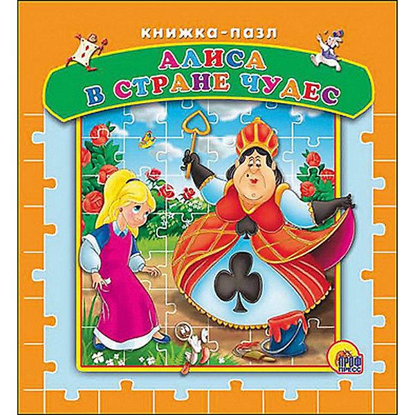 Книжка-пазл Алиса в стране чудесКниги-пазлы<br>Знаменитая сказочная история Алиса в стране чудес издана в виде необычной красочной книги с пазлами. На каждом развороте книги яркая крупная картинка с текстом и пазл.<br>Собранные пазлы держатся очень крепко и картинка не рассыпается. Книга предназначена для чтения родителями детям.<br><br>Дополнительная информация:<br><br>- Автор: Л. Кэрролл.<br>- Серия: Книжки-пазлы на картоне.<br>- Обложка: твердая.<br>- Иллюстрации: цветные.<br>- Объем: 8 картонных страниц.<br>- Размер: 18,7 x 16 x 2,2 см. <br>- Вес: 0,354 кг. <br><br>Книгу с пазлами Алиса в стране чудес, Проф-Пресс можно купить в нашем интернет-магазине.<br>Ширина мм: 170; Глубина мм: 25; Высота мм: 185; Вес г: 425; Возраст от месяцев: 36; Возраст до месяцев: 60; Пол: Унисекс; Возраст: Детский; SKU: 3718575;