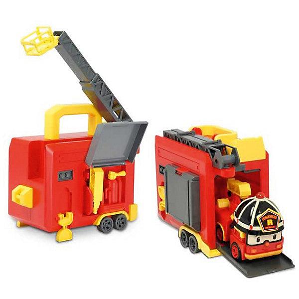 Кейс с гаражом и трансформером Рой, 12 см, Робокар Поли, 12 смПарковки и гаражи<br>Кейс с гаражом и трансформером Рой, 12 см, Робокар Поли, 12 см позволит ребенку играть с пожарной машинкой Роем и патрулировать придуманный город, а перестроив игрушку в робота, помогать другим машинкам в уборке или проведении других мероприятий в городе. Кейс выполнен на колесах и зацепляется крюком трансформера, и Рой может начать операцию по тушению пожара в высотном здании или на лесной поляне. На крыше кейса установлена выдвижная стрела с площадкой-корзиной, которую можно выдвинуть и забраться на самую высокую крышу или достать пострадавшего с высокой скалы. А настоящий гараж можно использовать как место отдыха пожарной машины или для ремонта.<br><br>Характеристики:<br>-Развивает: воображение, пространственное мышление, мелкую моторику, речь, фантазию<br>-Игрушка выполнена из высококачественного пластика, с аккуратно обработанными краями, использованные красители не токсичны и гипоаллергенны<br>-Кейс служит для хранения и переноски в гости, на прогулку<br>-Машина-спасатель легко трансформируется в робота<br><br>Комплектация: пожарная машина Рой, гараж с выдвижной лестницей и отделением для хранения инструментов (водная пушка, огнетушитель)<br><br>Дополнительная информация:<br>-Материалы: пластик, металл<br>-Размеры в упаковке: 36х13х22 см<br>-Вес в упаковке: 1,4 кг<br>-Размер робота: 12 см<br>-Батарейки для мигалки входят в комплект<br><br>Переносной гараж-кейс и трансформер-пожарный Рой подарят ребенку множество интересных игр!<br><br>Кейс с гаражом и трансформером Рой, 12 см, Робокар Поли, 12 см можно купить в нашем магазине.<br>Ширина мм: 361; Глубина мм: 220; Высота мм: 139; Вес г: 927; Возраст от месяцев: 36; Возраст до месяцев: 60; Пол: Унисекс; Возраст: Детский; SKU: 3722553;