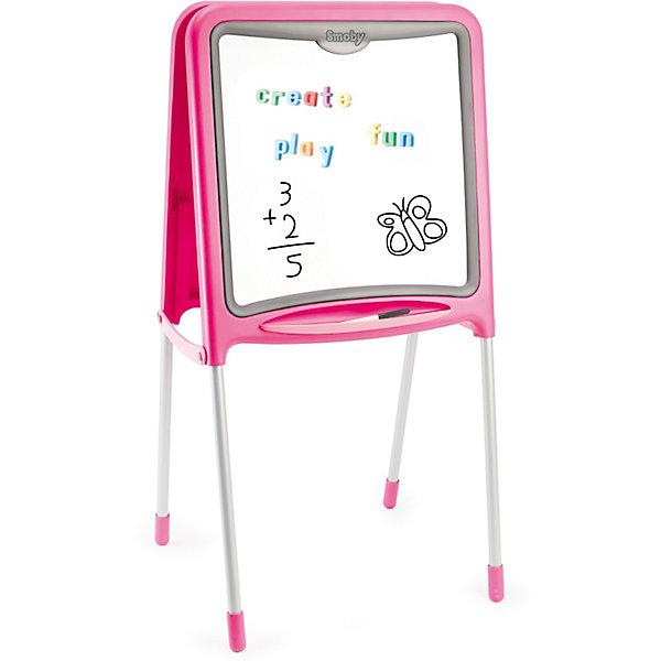 Двухсторонний складывающийся мольберт, розовый, SmobyКоврики и доски для рисования<br>Характеристики:<br><br>• аксессуары: 59 предметов, знаки, цифры, буквы английского алфавита, цветные мелки, маркер;<br>• материал: металл, пластик;<br>• размер мольберта: 52х48х105 см;<br>• размер упаковки: 61х55х11 см;<br>• вес: 4,8 кг.<br><br>Мольберт для рисования имеет две стороны, черную и белую, для рисования и крепления магнитиков. Входящие в комплект цифры и знаки помогают освоить счет, фигурки крепятся с помощью магнитиков. Рисовать можно мелками (на черной поверхности), стирая художества специальной губкой. Маркер хорошо рисует на белой стороне мольберта. <br><br>Мольберт Smoby оснащен подставкой для мелков и маркеров. В сложенном состоянии мольберт занимает мало места. <br><br>Двухсторонний складывающийся мольберт, розовый, Smoby можно купить в нашем магазине.<br><br>Ширина мм: 607<br>Глубина мм: 457<br>Высота мм: 441<br>Вес г: 5630<br>Возраст от месяцев: 36<br>Возраст до месяцев: 72<br>Пол: Женский<br>Возраст: Детский<br>SKU: 3725345