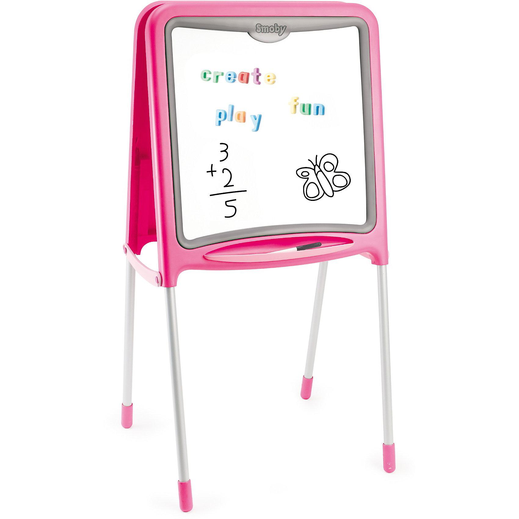 Двухсторонний складывающийся мольберт, розовый, SmobyМольберты и доски для рисования<br>Характеристики:<br><br>• аксессуары: 59 предметов, знаки, цифры, буквы английского алфавита, цветные мелки, маркер;<br>• материал: металл, пластик;<br>• размер мольберта: 52х48х105 см;<br>• размер упаковки: 61х55х11 см;<br>• вес: 4,8 кг.<br><br>Мольберт для рисования имеет две стороны, черную и белую, для рисования и крепления магнитиков. Входящие в комплект цифры и знаки помогают освоить счет, фигурки крепятся с помощью магнитиков. Рисовать можно мелками (на черной поверхности), стирая художества специальной губкой. Маркер хорошо рисует на белой стороне мольберта. <br><br>Мольберт Smoby оснащен подставкой для мелков и маркеров. В сложенном состоянии мольберт занимает мало места. <br><br>Двухсторонний складывающийся мольберт, розовый, Smoby можно купить в нашем магазине.<br><br>Ширина мм: 607<br>Глубина мм: 457<br>Высота мм: 441<br>Вес г: 5630<br>Возраст от месяцев: 36<br>Возраст до месяцев: 72<br>Пол: Женский<br>Возраст: Детский<br>SKU: 3725345