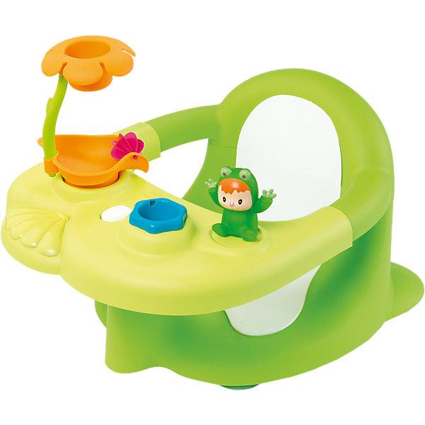 Стульчик-сидение для ванной, зеленый, SmobyИгрушки для ванной<br>Характеристики:<br><br>• отодвигающаяся игровая панель;<br>• игрушки: лягушонок, ведерко, душ в виде цветка;<br>• закругленные углы;<br>• материал: пластик;<br>• размер: 49х34х26 см;<br>• размер упаковки: 52х18х35 см;<br>• вес: 1,6 кг;<br>• страна производитель: Франция.<br><br>Стульчик-сидение от Smoby сделает купание веселым и безопасным. Стульчик предназначен для детей от 6 месяцев,  умеющих сидеть. Удобное сидение поддерживает спинку малыша и предотвращает возможные падения. Стульчик не имеет острых углов, чтобы малыш не поранился во время водных процедур.<br><br>Стульчик оснащен игровой панелью. На ней расположен забавный лягушонок, ведерко и душ, выполненный в виде цветочка. Игрушки смогут занять ребенка и сделать купание еще приятнее. Панель легко отодвигается, чтобы вам было удобно доставать ребенка после водных процедур.<br><br>Стульчик-сидение для ванной, зеленый, Smoby (Смоби) можно купить в нашем интернет-магазине.<br><br>Ширина мм: 524<br>Глубина мм: 360<br>Высота мм: 193<br>Вес г: 1558<br>Возраст от месяцев: 6<br>Возраст до месяцев: 2147483647<br>Пол: Унисекс<br>Возраст: Детский<br>SKU: 3725351