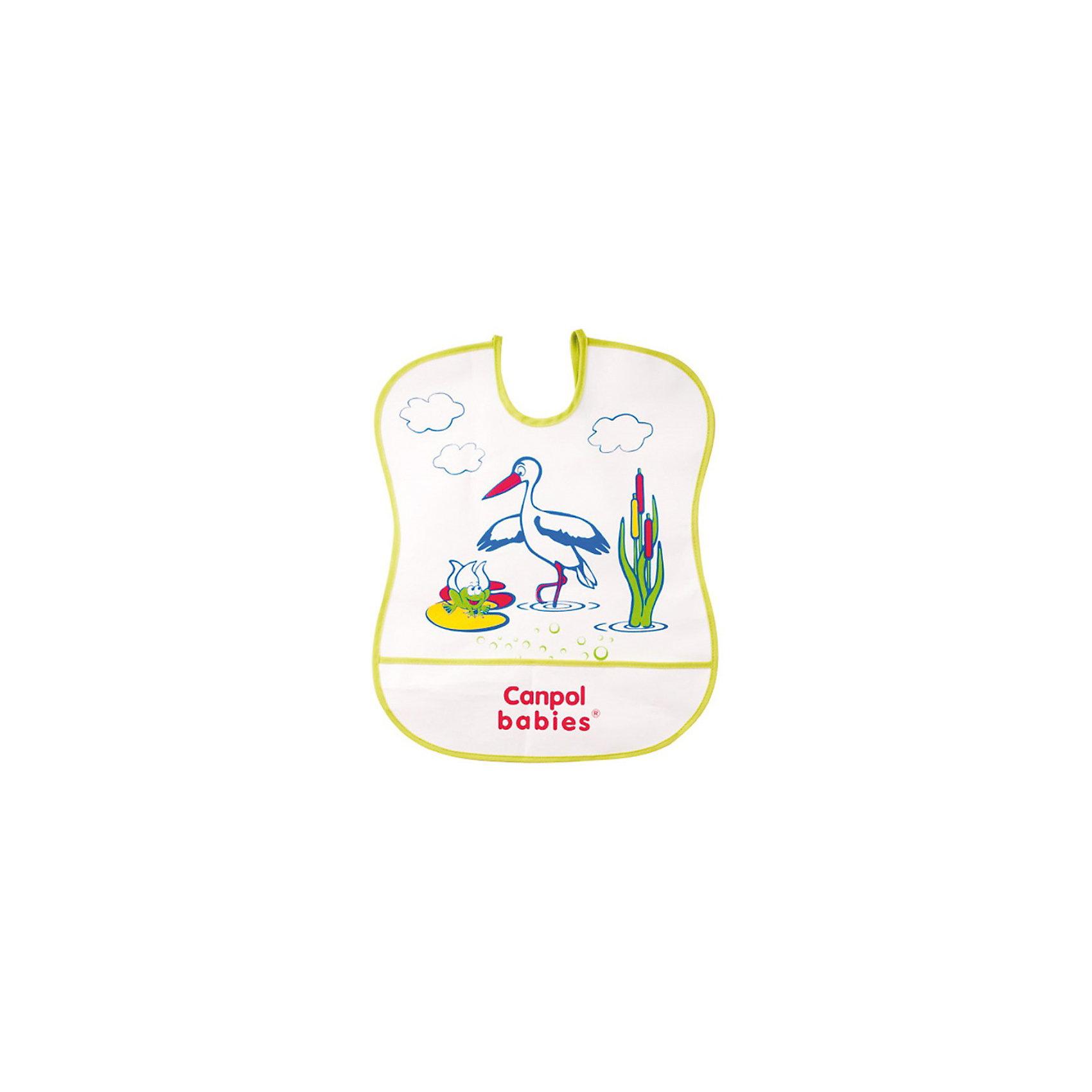 Пластмассовый мягкий нагрудник, Canpol Babies, в ассорт.Пластмассовый мягкий нагрудник от Canpol (Канпол) поможет защитить одежду ребенка во время кормления. Нагрудник изготовлен из непромокаемой пленки и украшен привлекательным для малыша изображением забавной зверюшки. Имеется карман, в который будут попадать упавшие кусочки пищи. Нагрудник легко моется горячей водой с мылом. Возможны несколько вариантов рисунка. В упаковке 1 штука.<br><br>Дополнительная информация:<br><br>- Материал: ПЭВА пленка.<br>- Размер упаковки: 35,5 х 20 х 0,3 см.<br>- Вес: 31,7 гр.<br><br>ВНИМАНИЕ! Данный артикул имеется в наличии в разных вариантах исполнения. Заранее выбрать определенный вариант нельзя. При заказе нескольких нагрудников возможно получение одинаковых.<br><br>Пластмассовый мягкий нагрудник, Canpol (Канпол) можно купить в нашем интернет-магазине.<br><br>Ширина мм: 355<br>Глубина мм: 200<br>Высота мм: 3<br>Вес г: 31<br>Возраст от месяцев: 0<br>Возраст до месяцев: 36<br>Пол: Унисекс<br>Возраст: Детский<br>SKU: 3726290