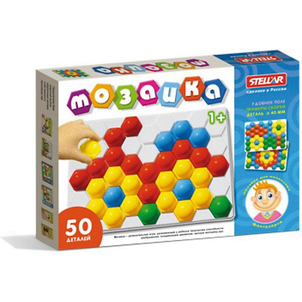 Мозаика, 50 элементов, СтелларМозаика<br>Мозаика Стеллар из  50 элементов с крупными, выпуклыми деталями в виде шестигранников – это увлекательная развивающая игра для малышей. Накладывая их на выпуклые ячейки поля, ребенок сможет выложить любой рисунок. Рисунки, представленные на упаковке, являются только примером, так как универсальная мозаика раскрывает перед ребенком неограниченные возможности моделирования и создания множества своих собственных рисунков, от простейших геометрических фигур и разноцветного орнамента, до сложных рисунков животных, цветов и всего, что только подскажет фантазия. <br>Мозаика это не только увлекательная, но и развивающая игра. Во время занятий с мозаикой, ребенок научится комбинировать цвета, получит представление о геометрических фигурах, простейшем счете. Мозаика развивает мелкую моторику рук, координацию движений, творческие способности, логическое мышление и воображение, усидчивость и трудолюбие. Все детали мозаики выполнены из качественных материалов и совершенно безвредны для детей.<br><br>Дополнительная информация:<br><br>- Материал: полипропилен<br>- В наборе: 50 деталей, поле<br>- Цвета мозаики: зеленый, желтый, красный, синий, белый<br>- Размер фишки: 40 х 45 х 22 мм.<br>- Размер поля: 240 х 350 мм.<br>- Размер коробки: 40 х 240 х 350 мм.<br>- Вес: 260 гр.<br><br>Мозаику, 50 элементов, Стеллар можно купить в нашем интернет-магазине.<br>Ширина мм: 40; Глубина мм: 350; Высота мм: 240; Вес г: 260; Возраст от месяцев: 12; Возраст до месяцев: 72; Пол: Унисекс; Возраст: Детский; SKU: 3726292;