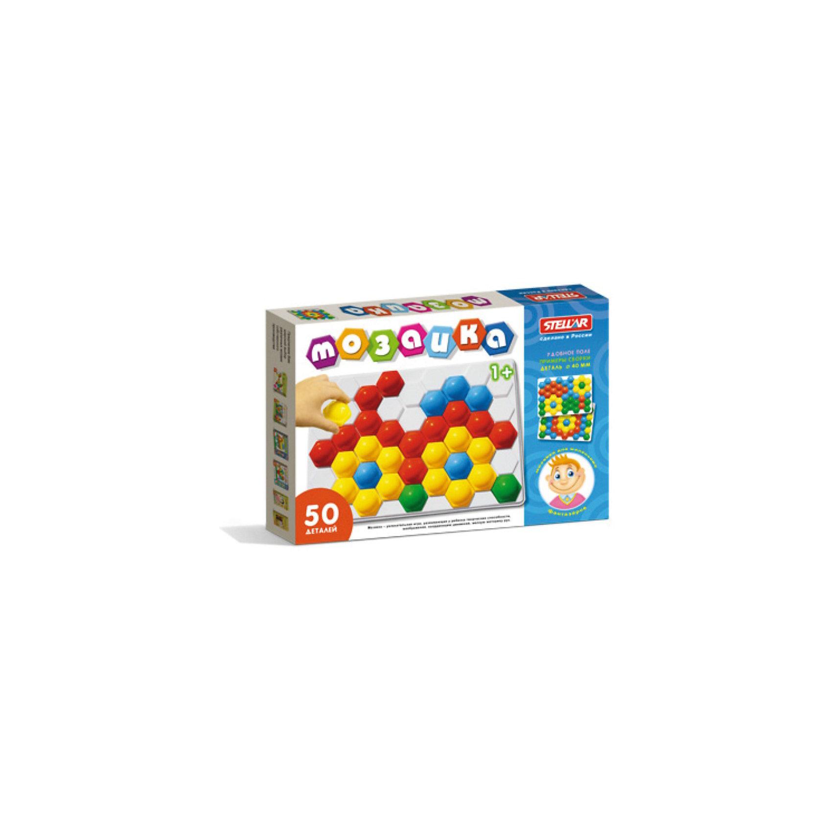 Мозаика, 50 элементов, СтелларМозаика Стеллар из  50 элементов с крупными, выпуклыми деталями в виде шестигранников – это увлекательная развивающая игра для малышей. Накладывая их на выпуклые ячейки поля, ребенок сможет выложить любой рисунок. Рисунки, представленные на упаковке, являются только примером, так как универсальная мозаика раскрывает перед ребенком неограниченные возможности моделирования и создания множества своих собственных рисунков, от простейших геометрических фигур и разноцветного орнамента, до сложных рисунков животных, цветов и всего, что только подскажет фантазия. <br>Мозаика это не только увлекательная, но и развивающая игра. Во время занятий с мозаикой, ребенок научится комбинировать цвета, получит представление о геометрических фигурах, простейшем счете. Мозаика развивает мелкую моторику рук, координацию движений, творческие способности, логическое мышление и воображение, усидчивость и трудолюбие. Все детали мозаики выполнены из качественных материалов и совершенно безвредны для детей.<br><br>Дополнительная информация:<br><br>- Материал: полипропилен<br>- В наборе: 50 деталей, поле<br>- Цвета мозаики: зеленый, желтый, красный, синий, белый<br>- Размер фишки: 40 х 45 х 22 мм.<br>- Размер поля: 240 х 350 мм.<br>- Размер коробки: 40 х 240 х 350 мм.<br>- Вес: 260 гр.<br><br>Мозаику, 50 элементов, Стеллар можно купить в нашем интернет-магазине.<br><br>Ширина мм: 40<br>Глубина мм: 350<br>Высота мм: 240<br>Вес г: 260<br>Возраст от месяцев: 12<br>Возраст до месяцев: 72<br>Пол: Унисекс<br>Возраст: Детский<br>SKU: 3726292